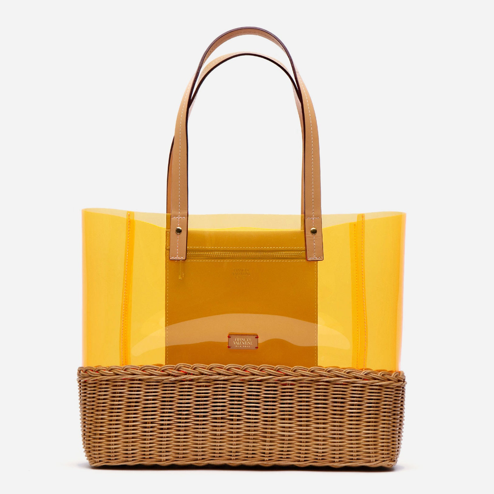 Large Margaret PVC Wicker Orange Tote