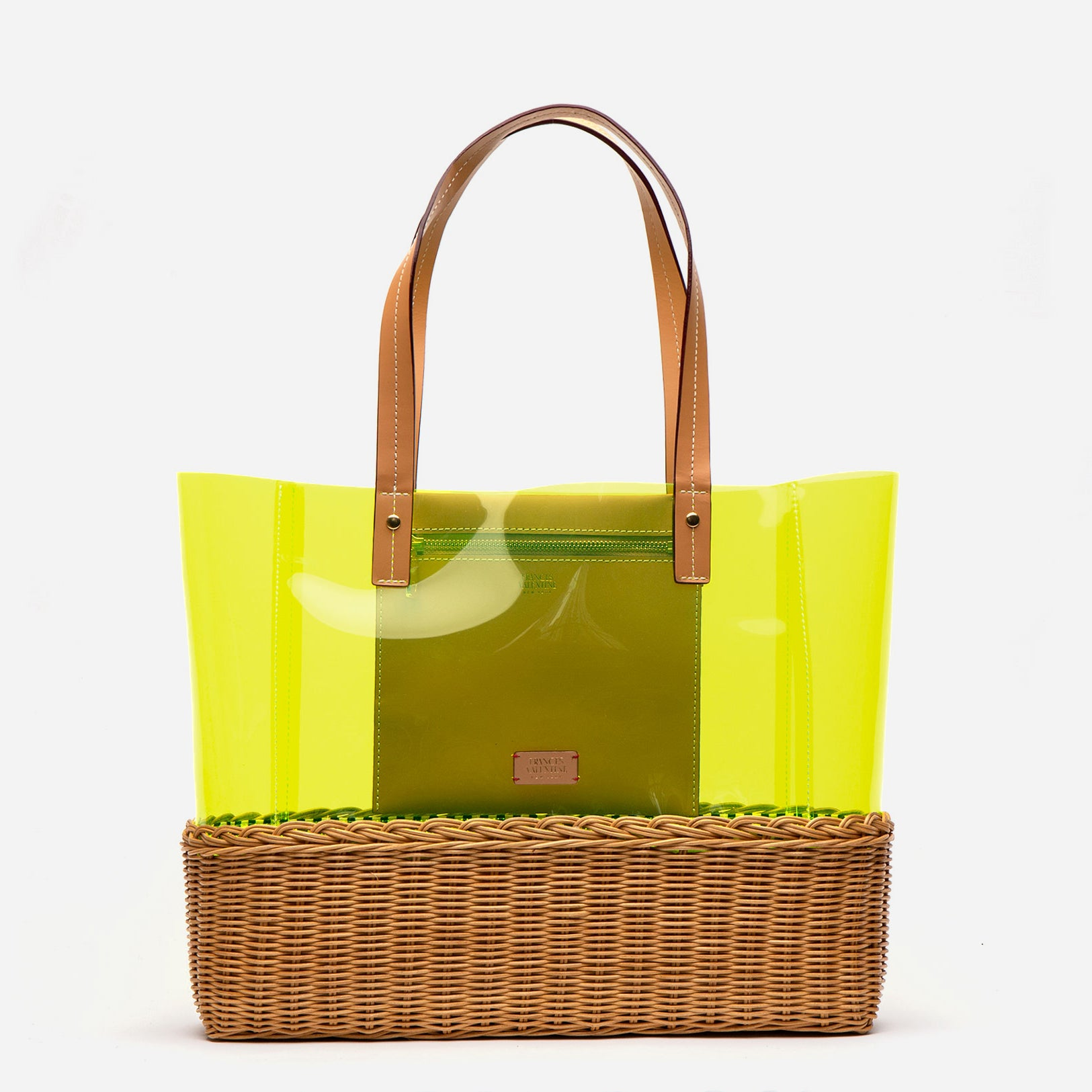 Large Margaret PVC Wicker Yellow Tote