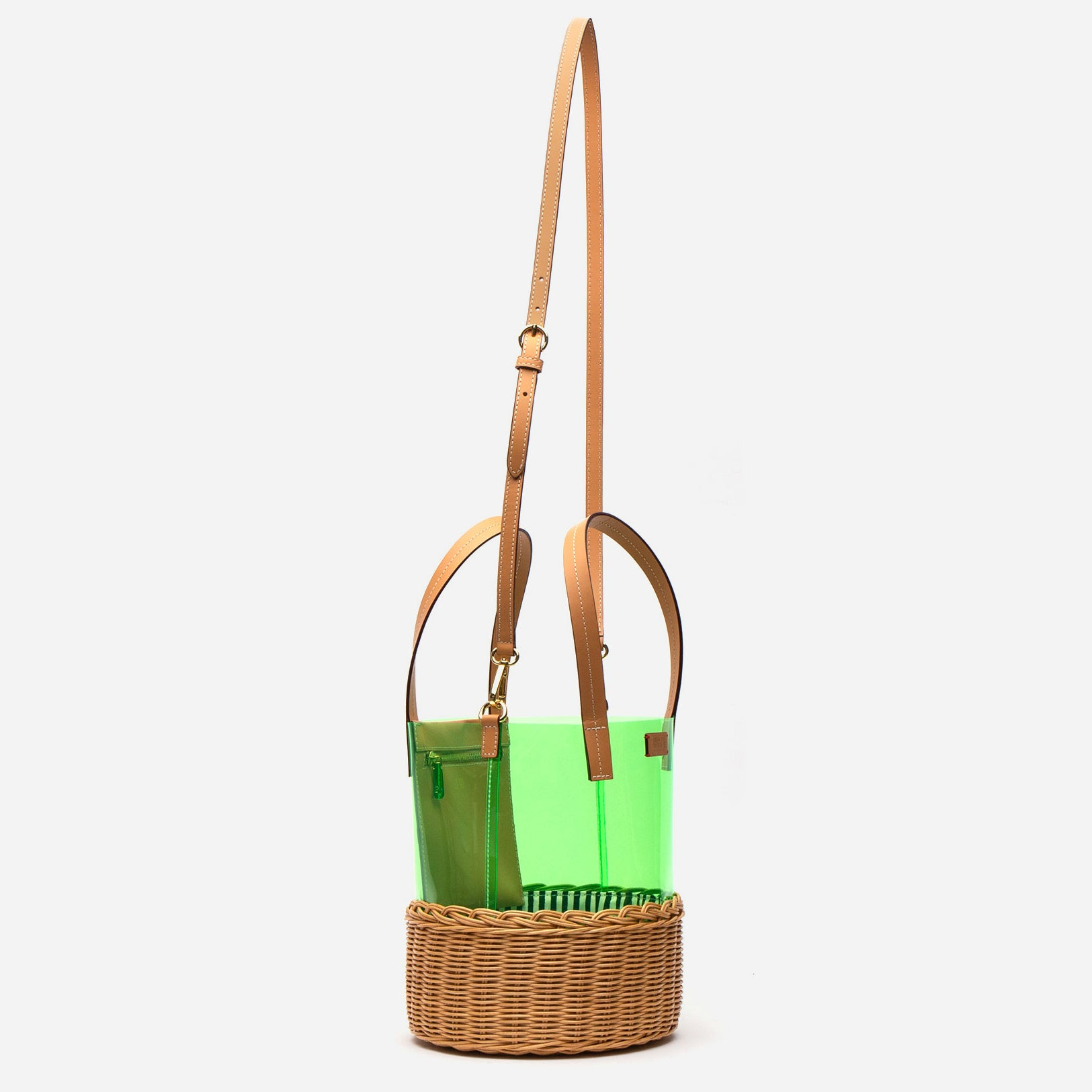 Large PVC Wicker Bucket Green