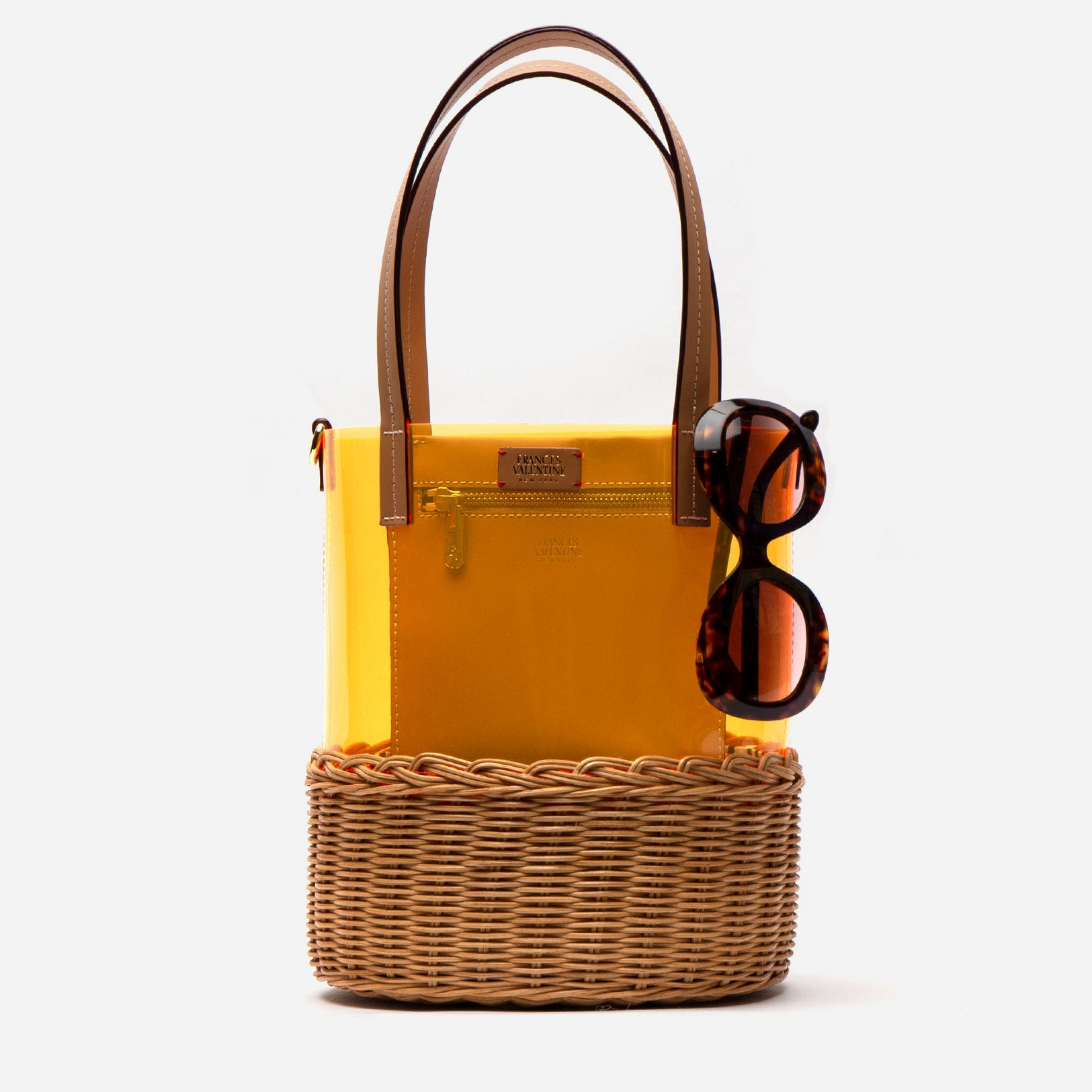 Large PVC Wicker Bucket Orange