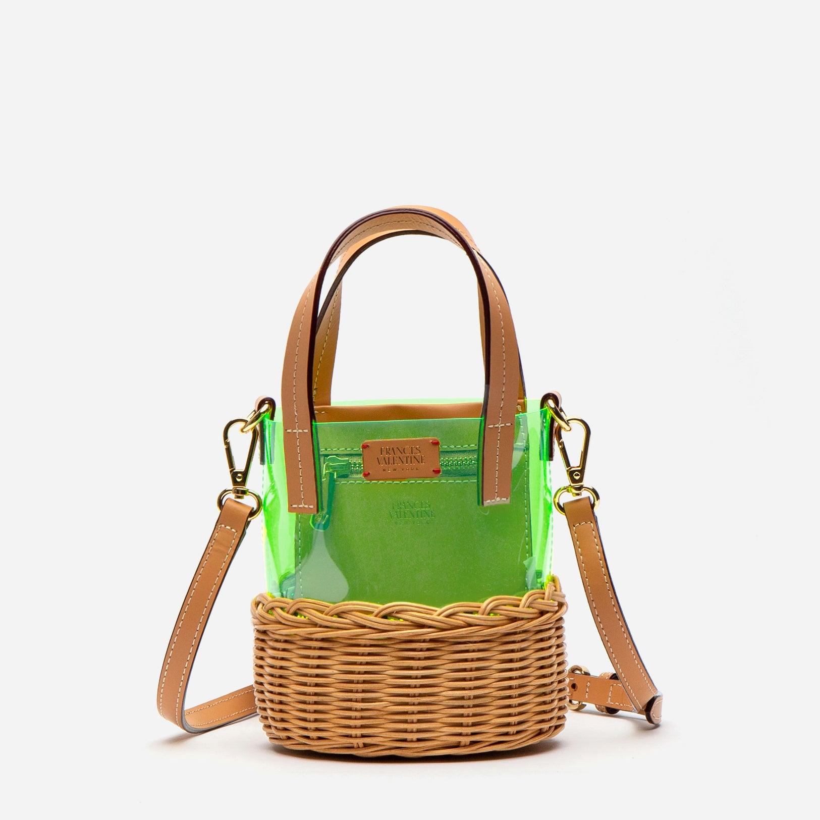 Small PVC Wicker Bucket Green - Frances Valentine