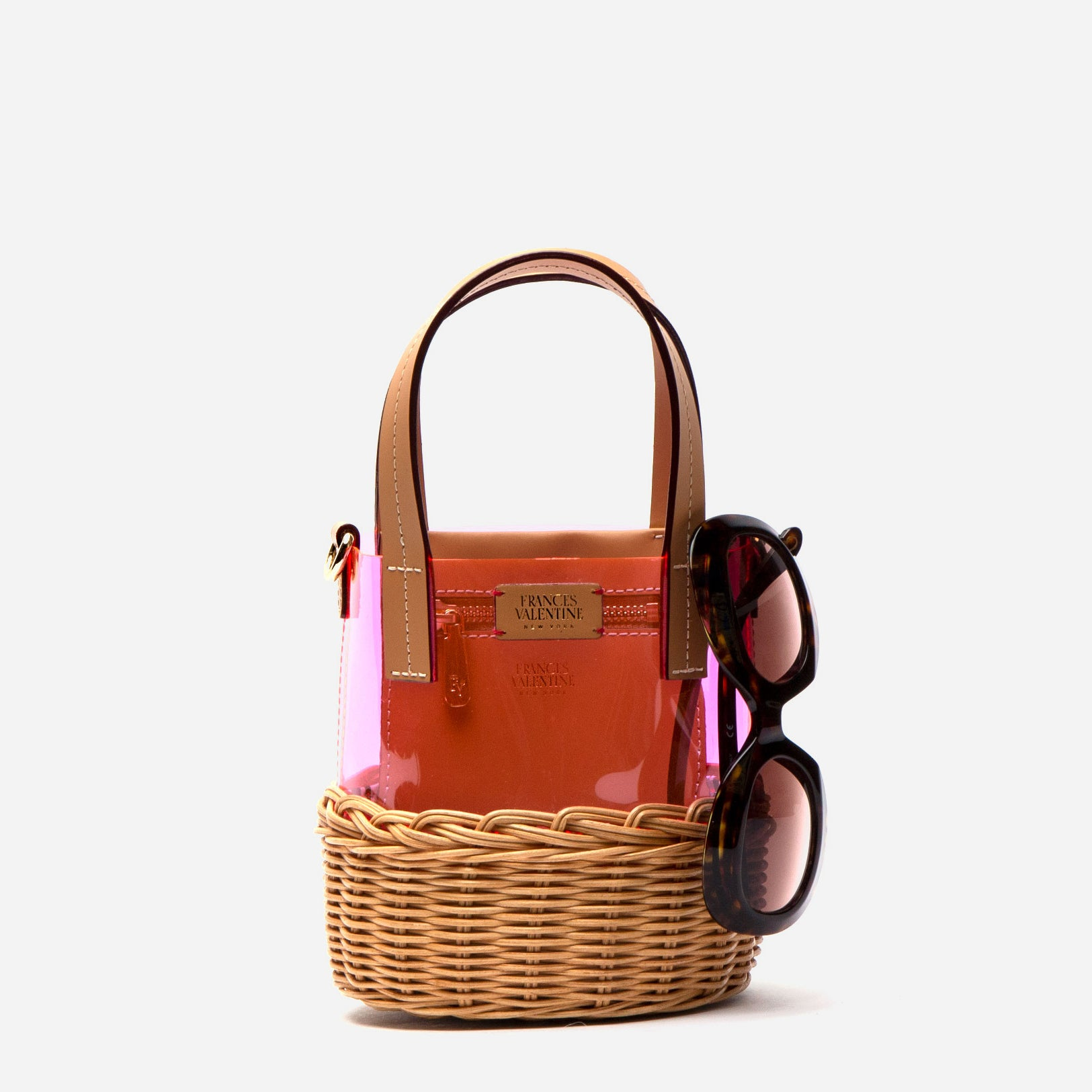 Small PVC Bucket Wicker Pink
