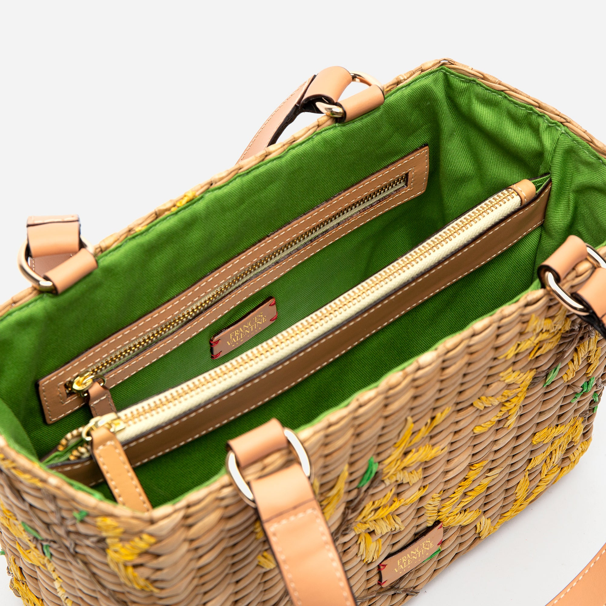 Small Woven Basket Tote Spring Flowers Forsythia