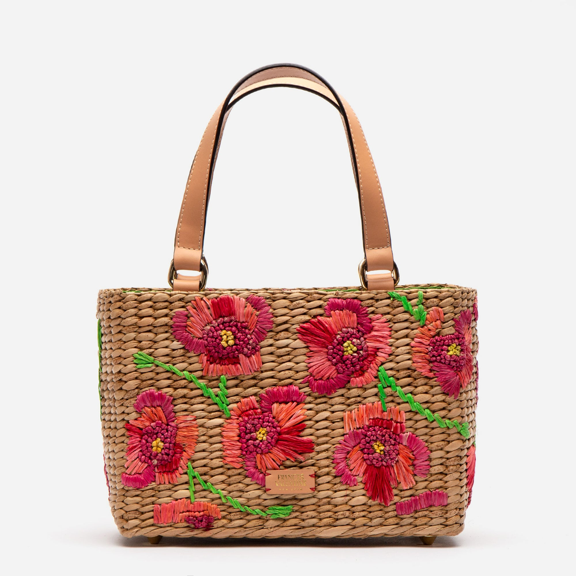 Small Woven Basket Tote Spring Flowers Poppy