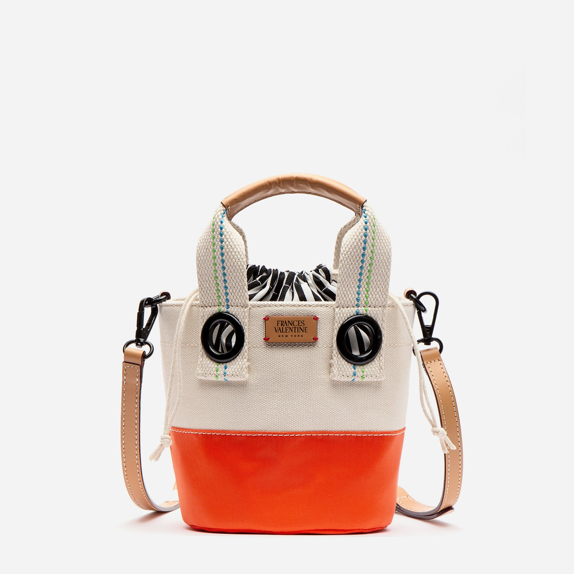 Small Colorblock Bucket Natural Orange
