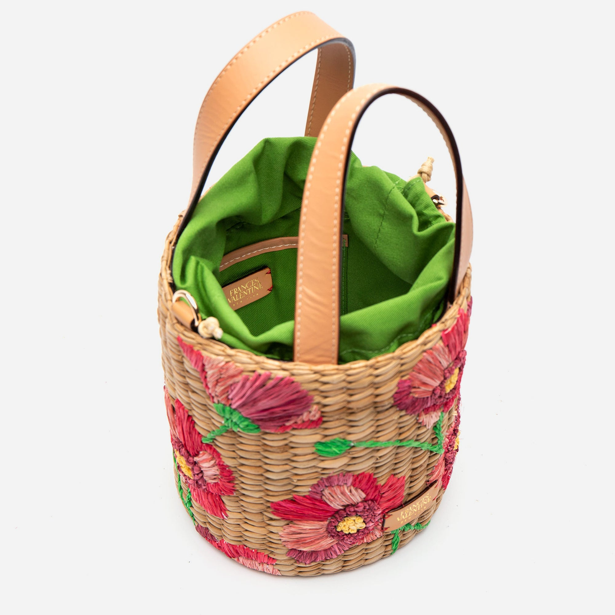 Small Woven Bucket Spring Flowers Poppy