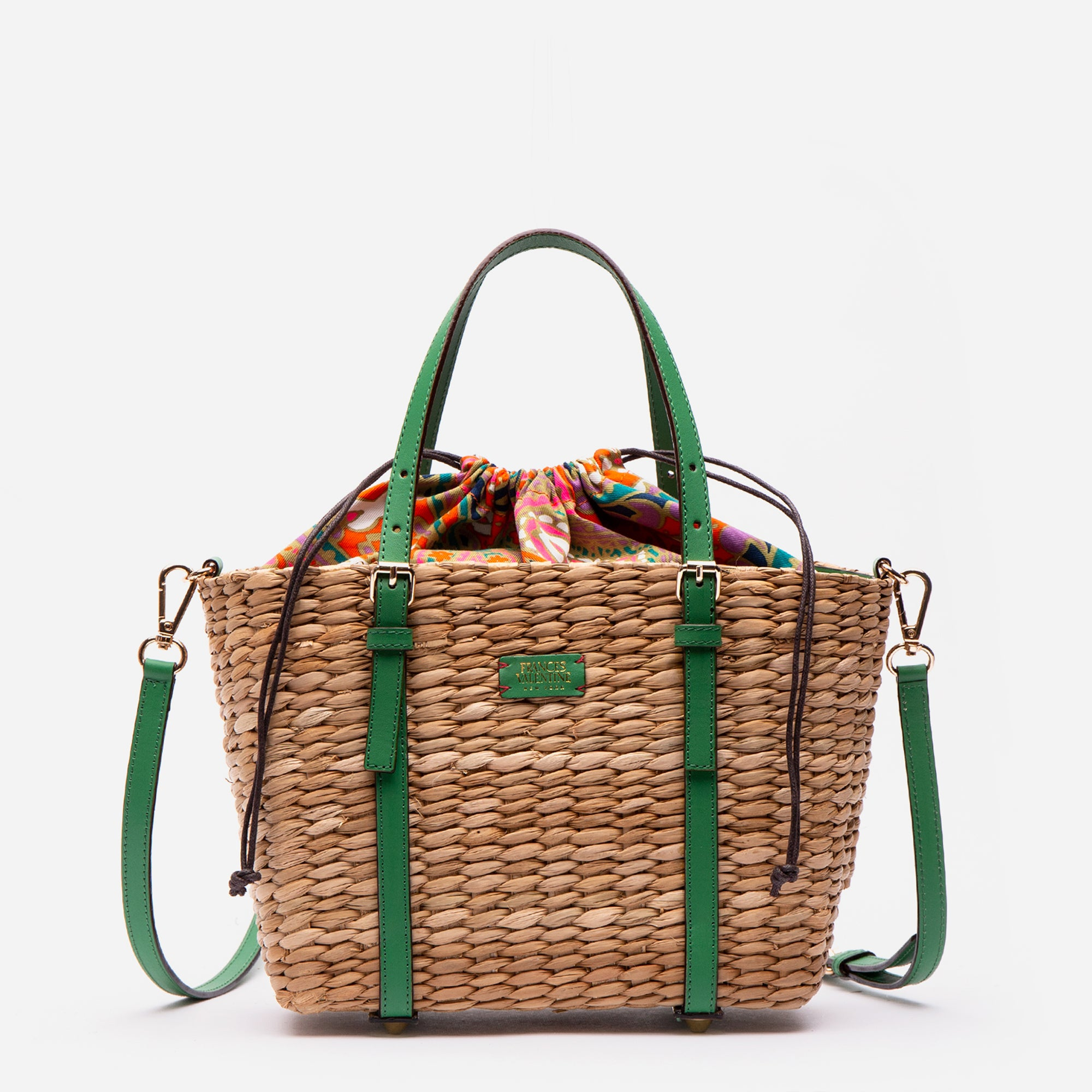 Small Woven Basket Tote Green Ray Vachetta