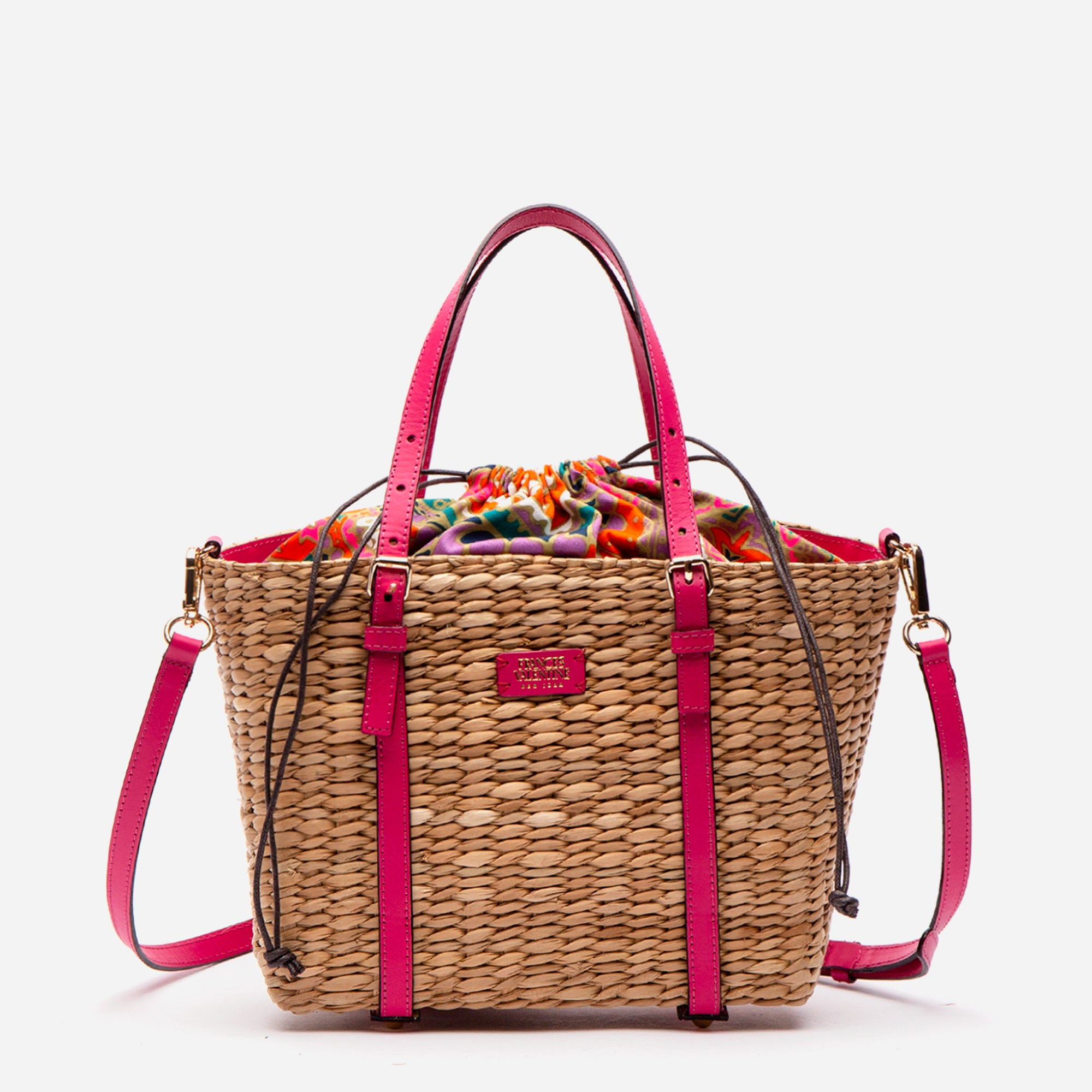 Small Woven Basket Tote Bright Pink Vachetta