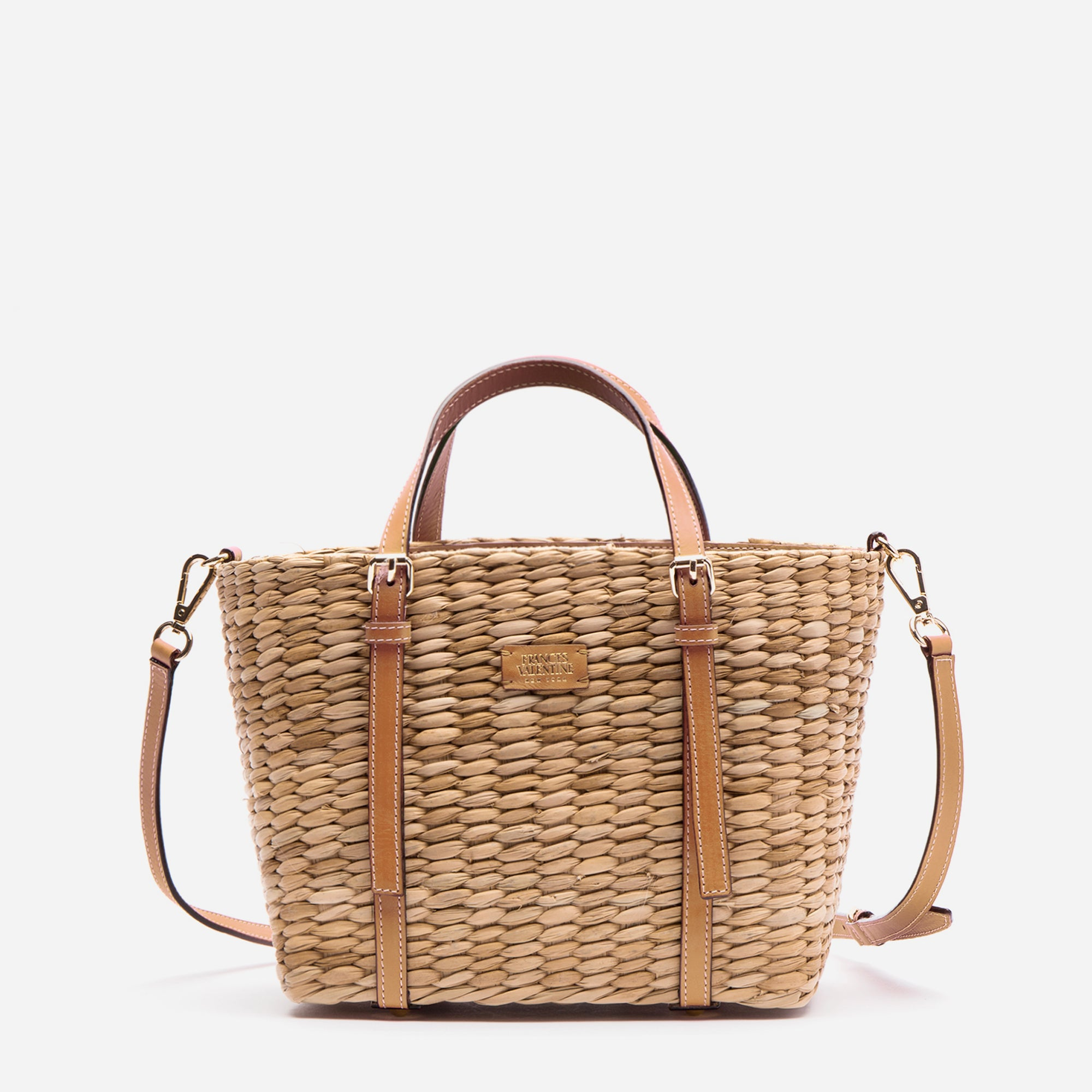 Small Woven Basket Tote Natural Vachetta