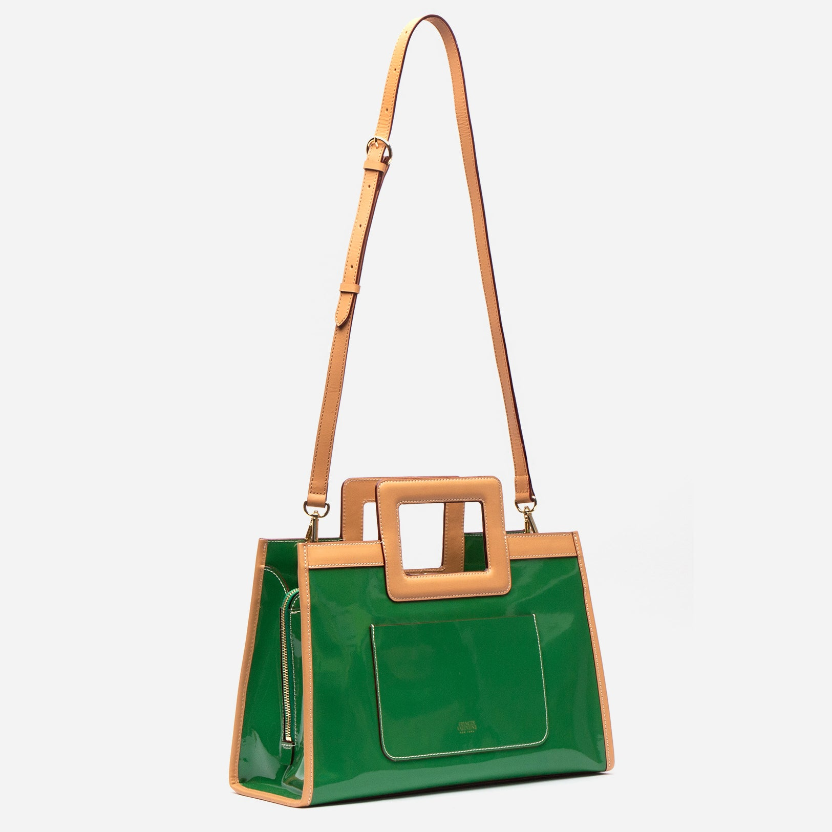 Large Shopper Tote Patent Green Ray