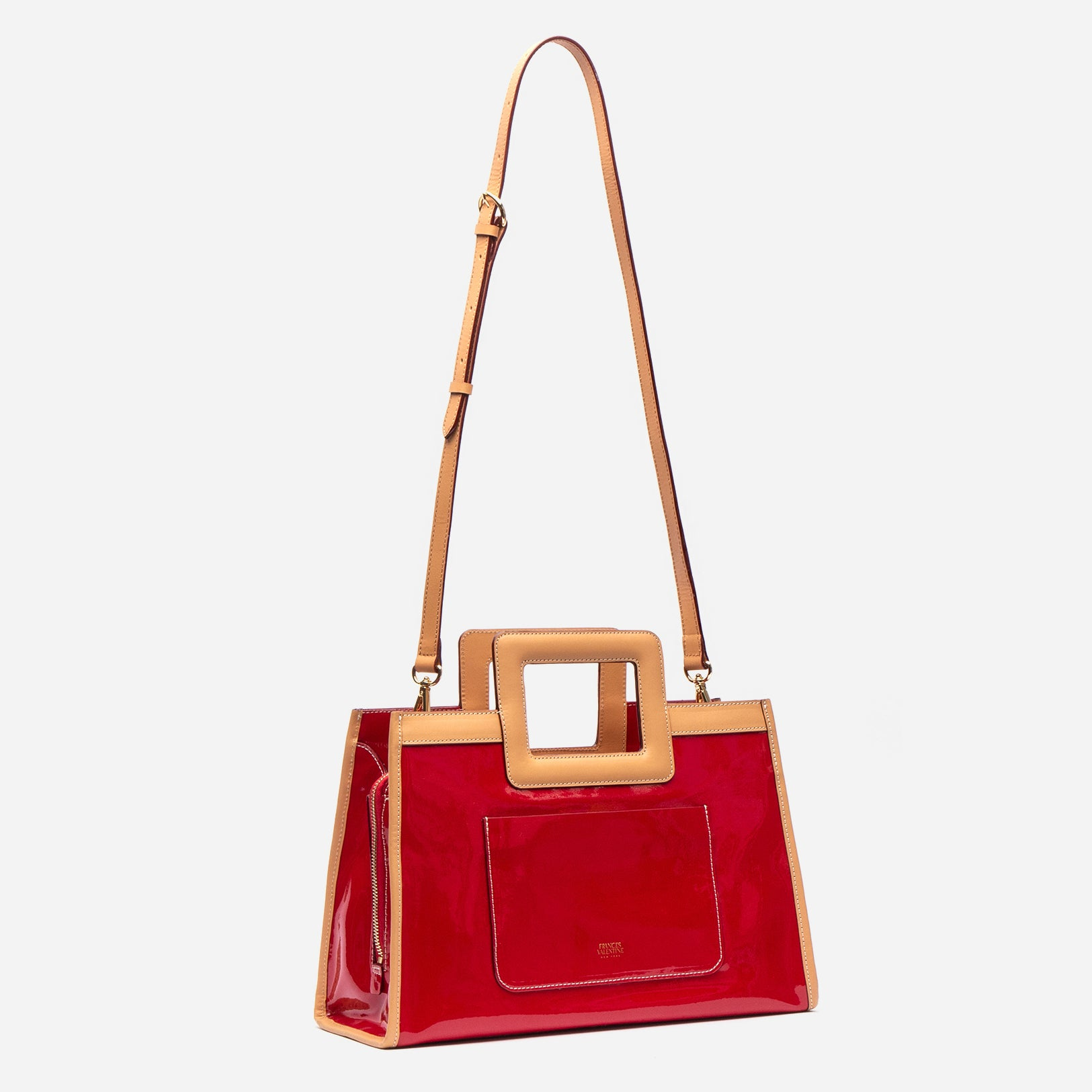 Large Shopper Tote Patent Red