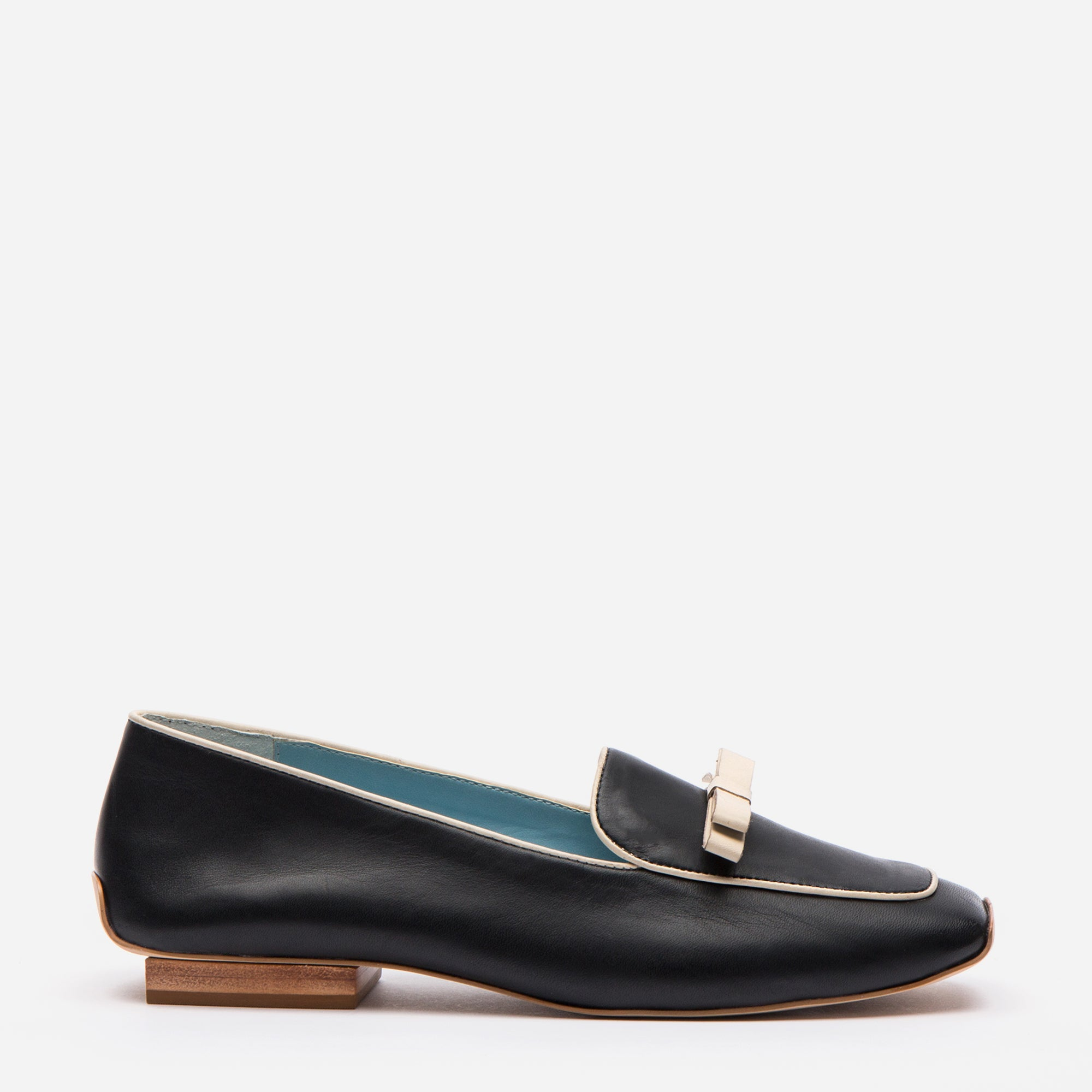 Suzanne Loafer Leather Black Oyster - Frances Valentine