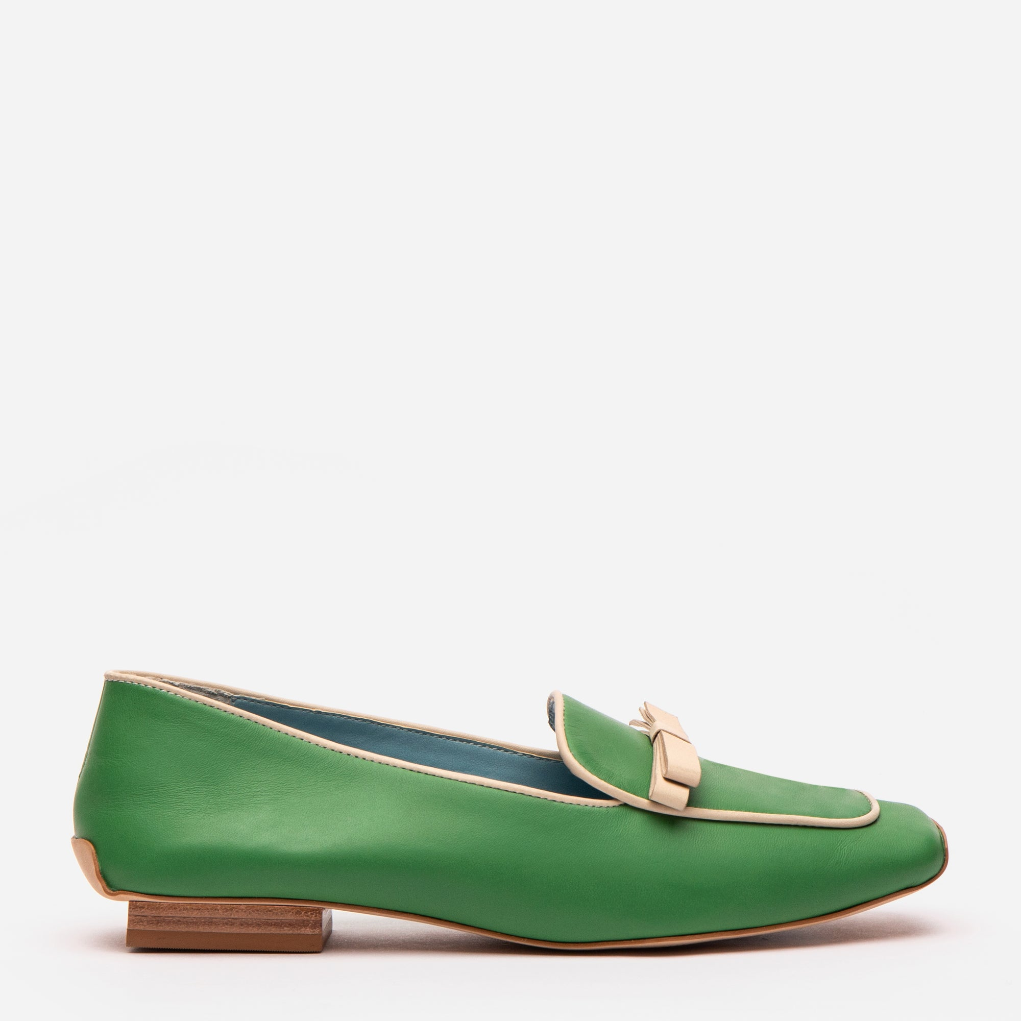 Suzanne Loafer Leather Green Oyster - Frances Valentine