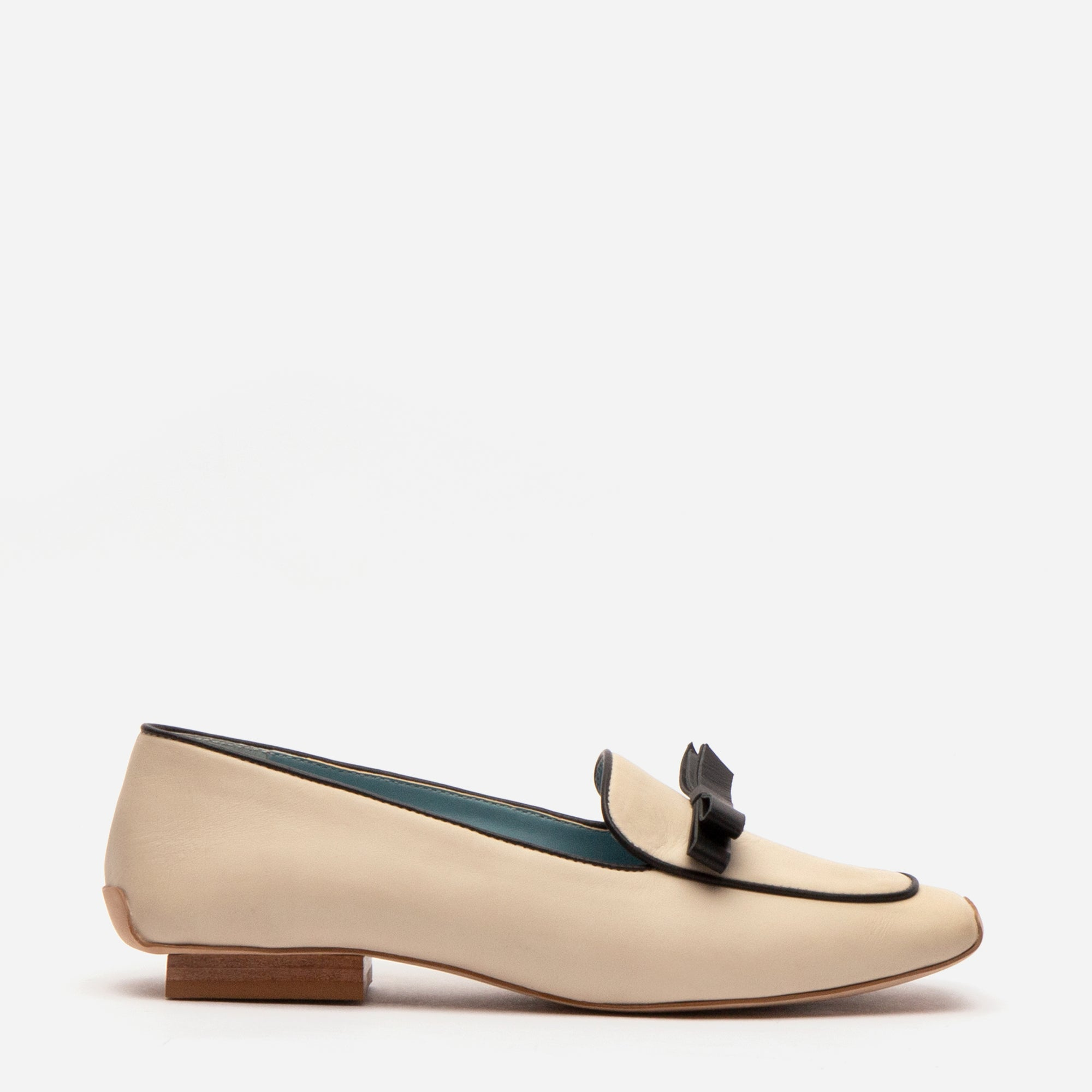 Suzanne Loafer Leather Oyster Black - Frances Valentine