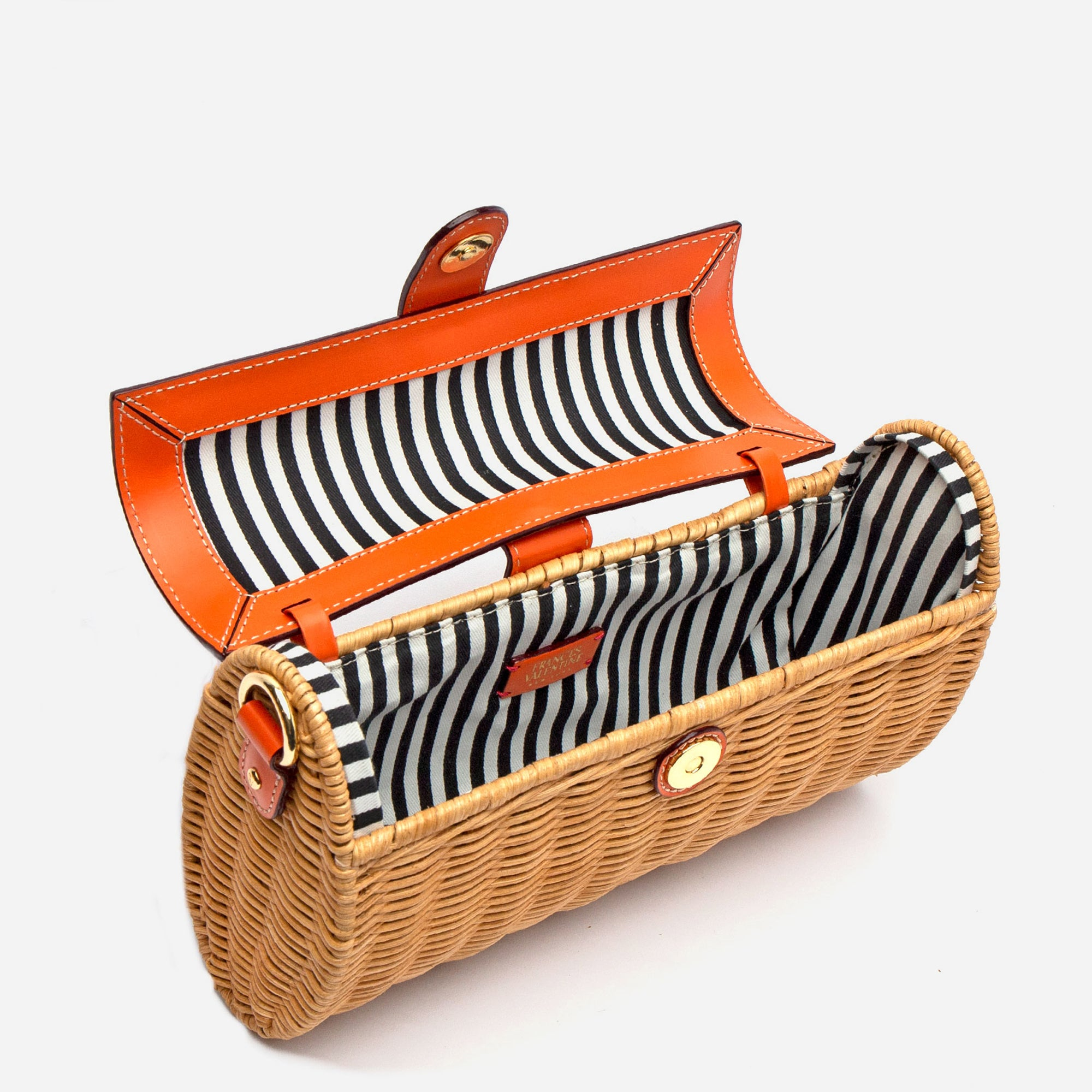 Betsy Wicker Basket Bag Tangerine