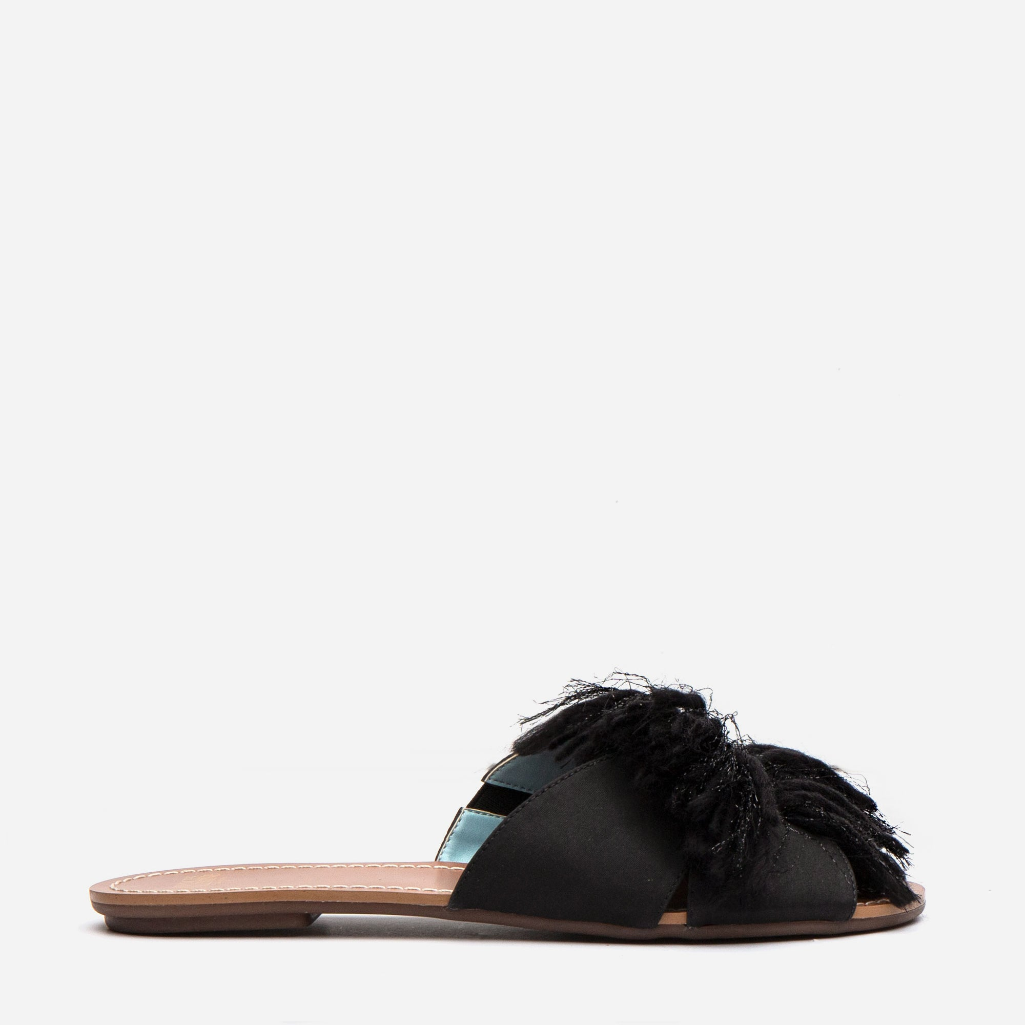 Trez Yarn Fringe Slide Black *FINAL SALE*