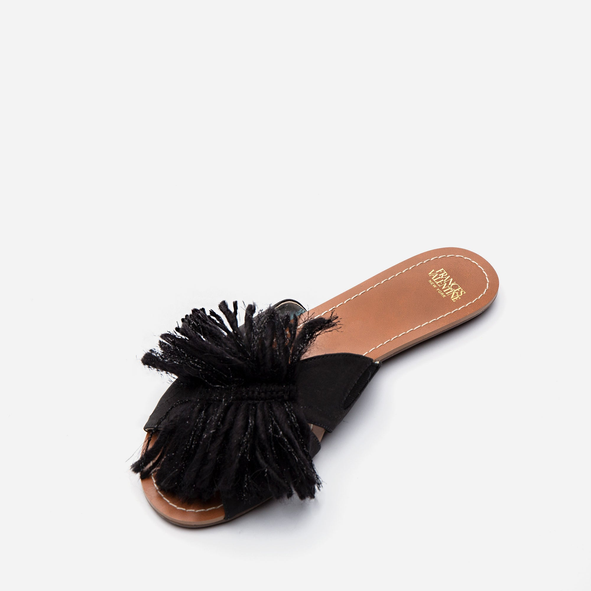 Trez Yarn Fringe Slide Black