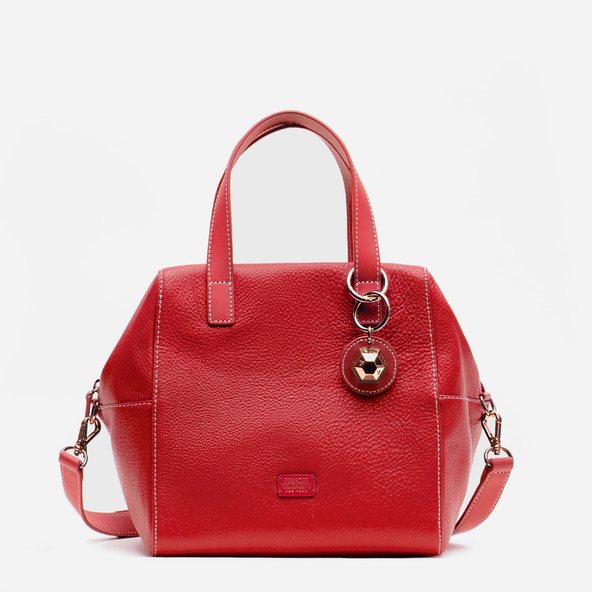 Sabrina Satchel Tumbled Leather Red - Frances Valentine