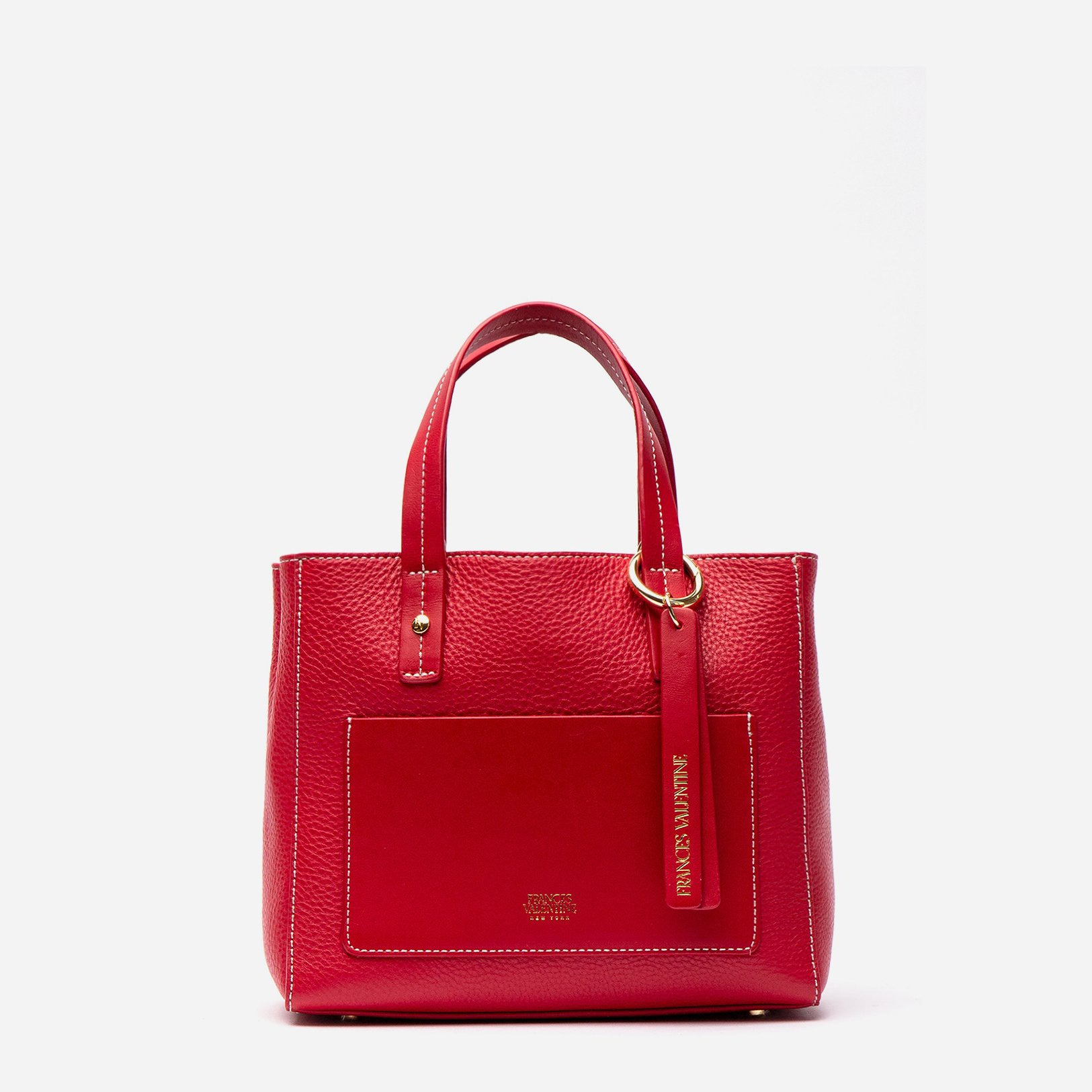 Small Chloe Tumbled Leather Red - Frances Valentine