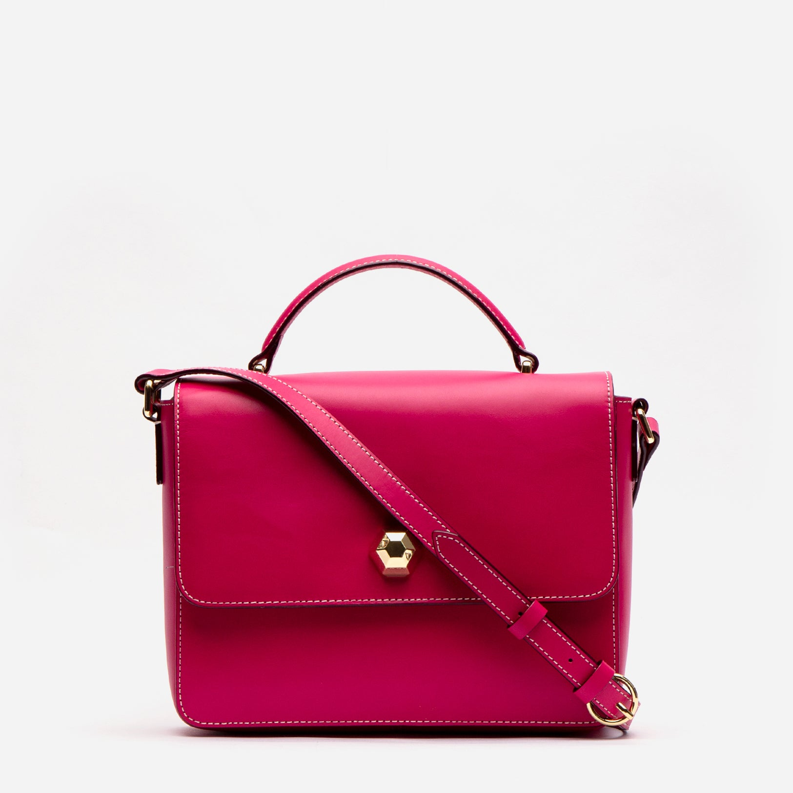 Midge Satchel Vachetta Leather Bright Pink