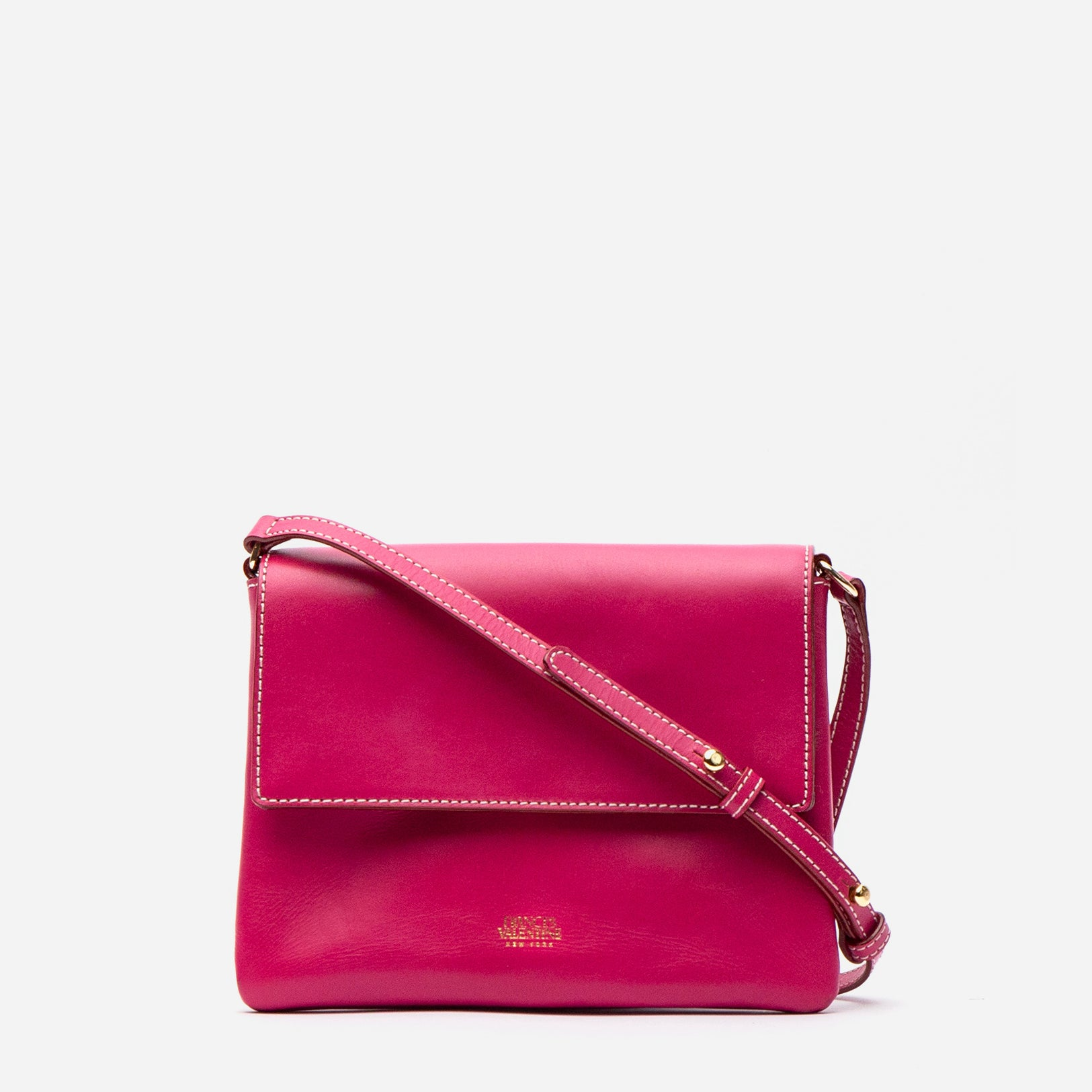 Maggie Slim Crossbody Vachetta Leather Bright Pink - Frances Valentine