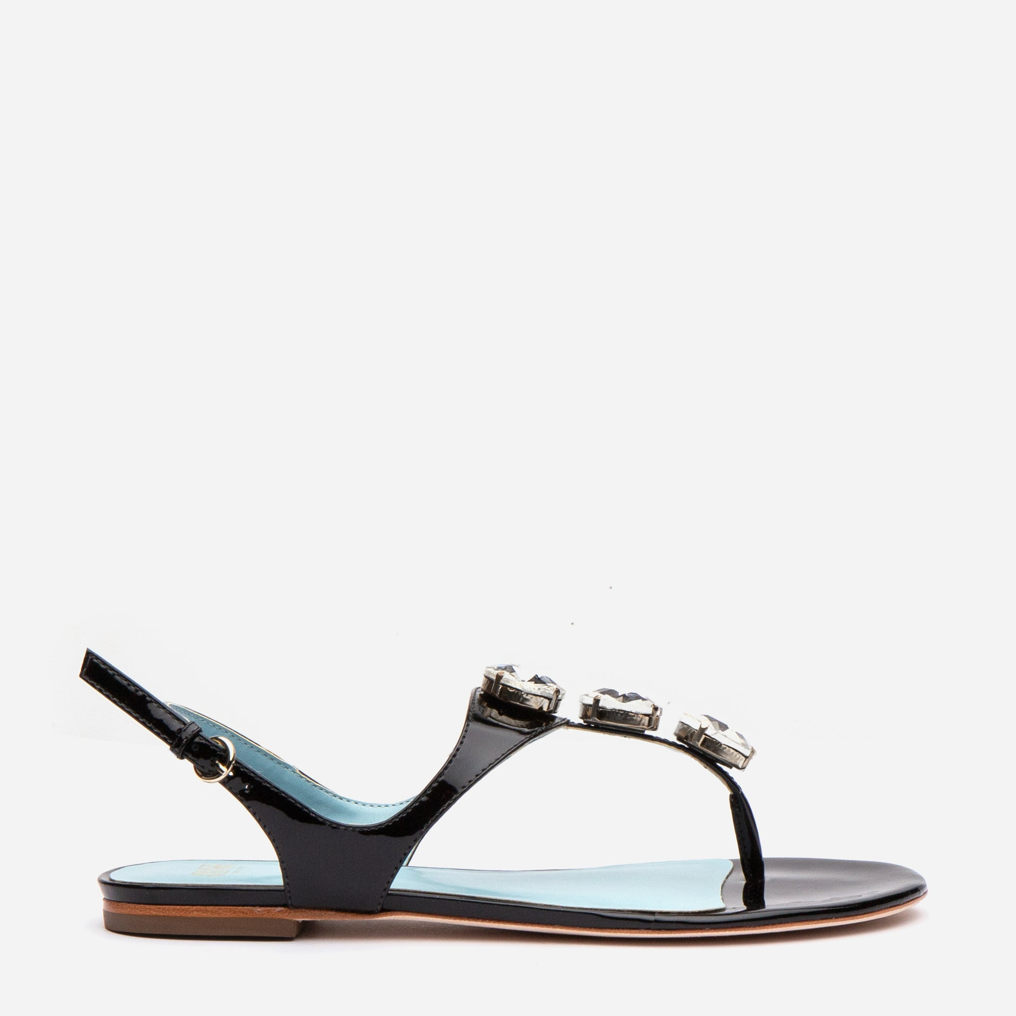 Victoria Jeweled Patent Sandal Black