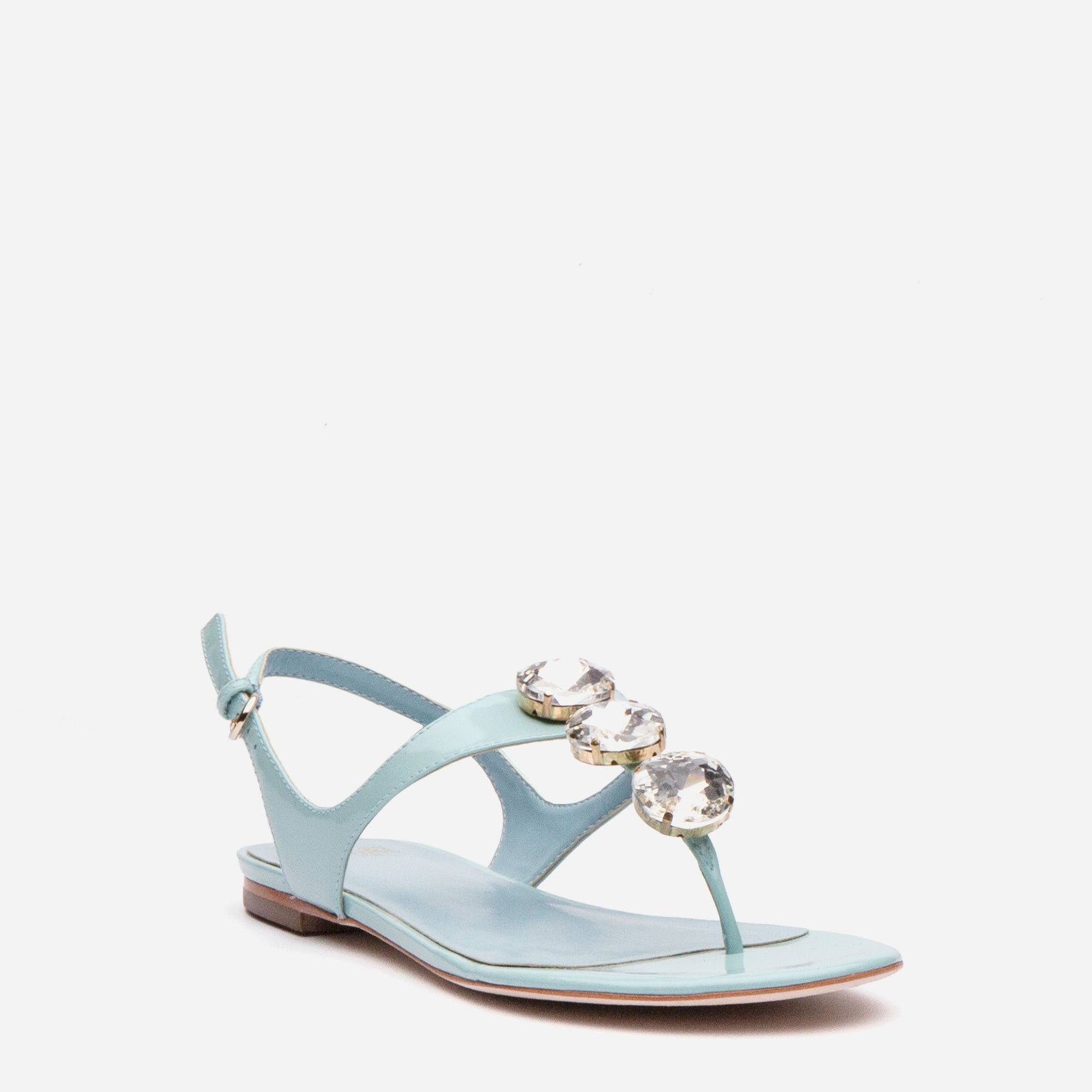 Victoria Jeweled Patent Sandal Light Blue