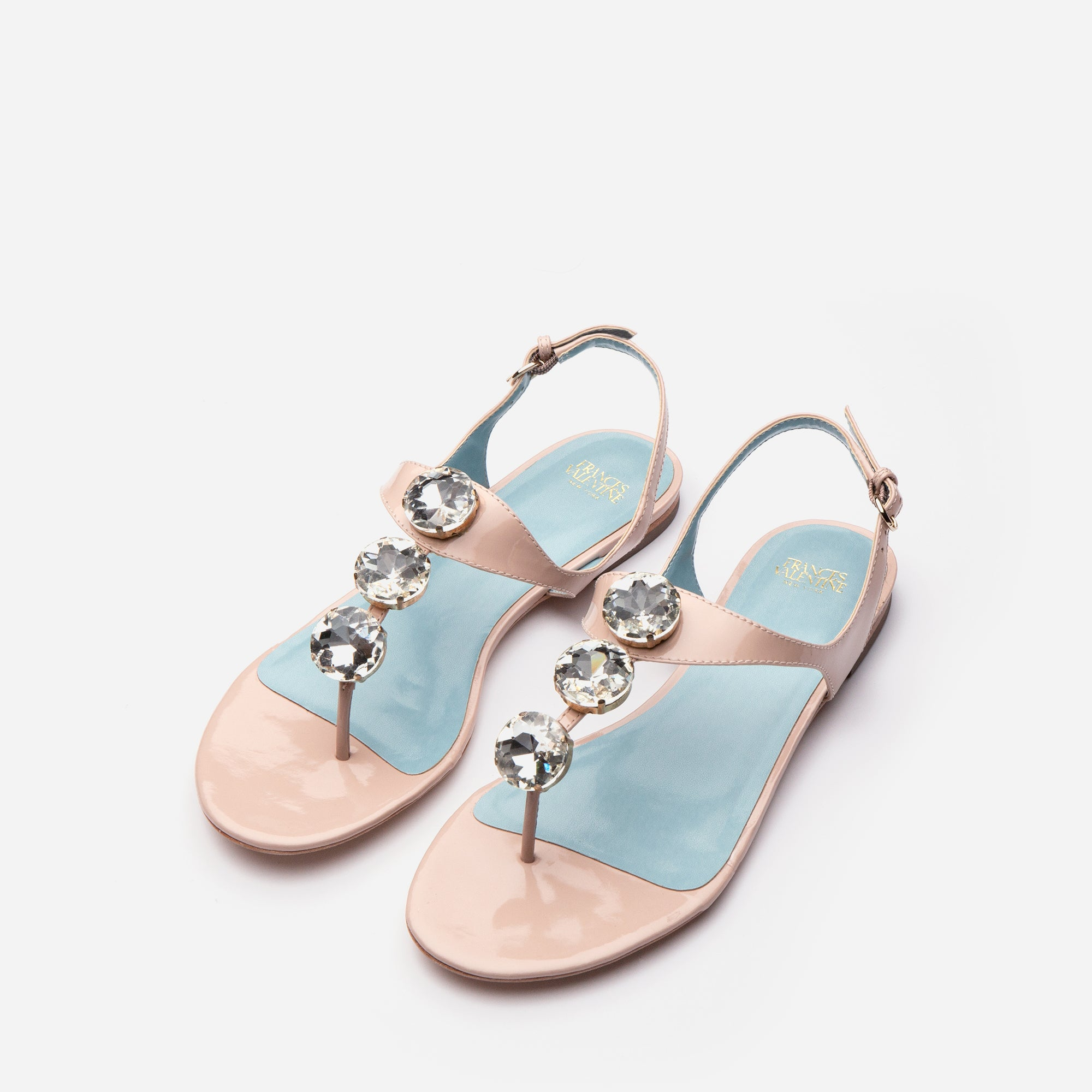 Victoria Jeweled Patent Sandal Blush