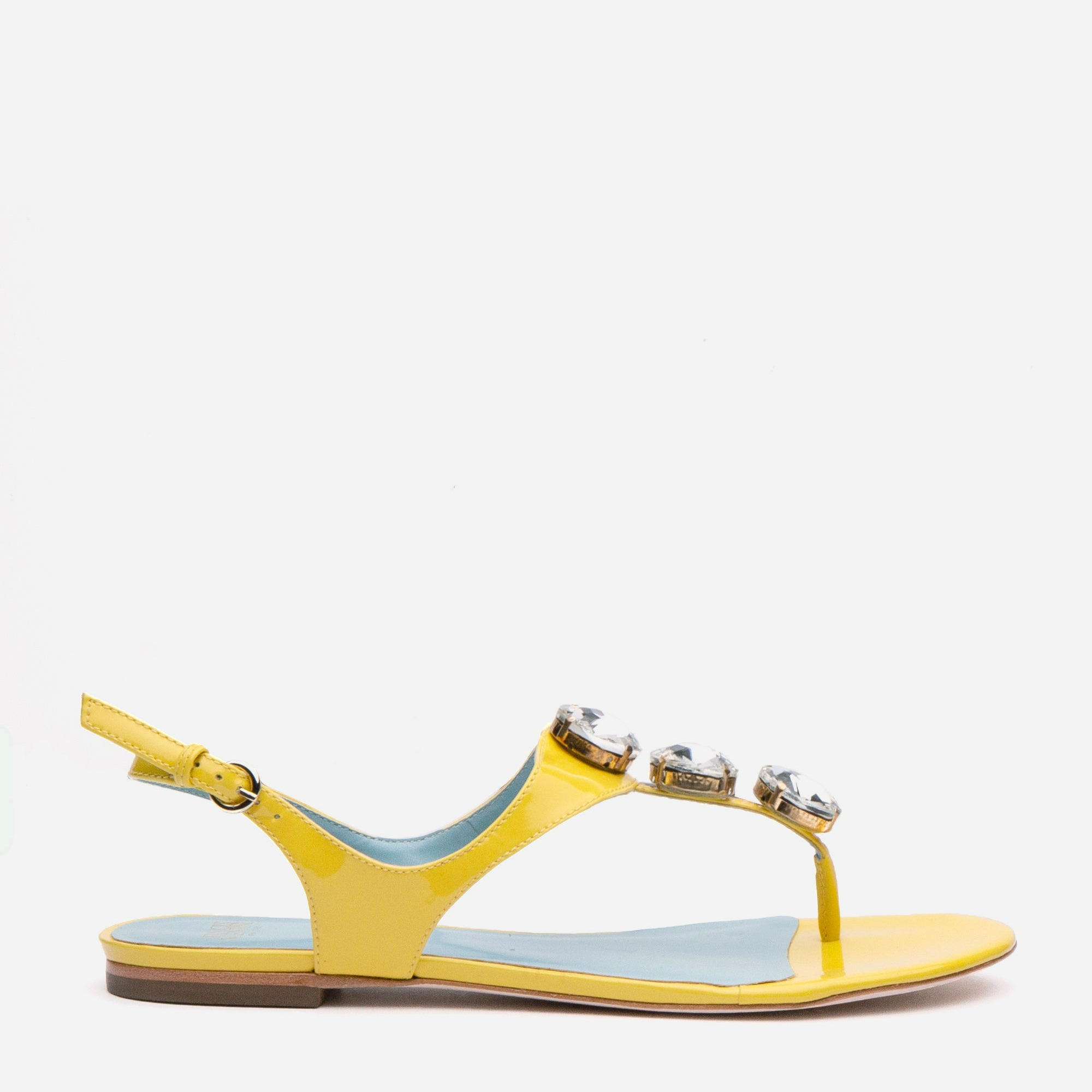 Victoria Jeweled Patent Sandal Canary