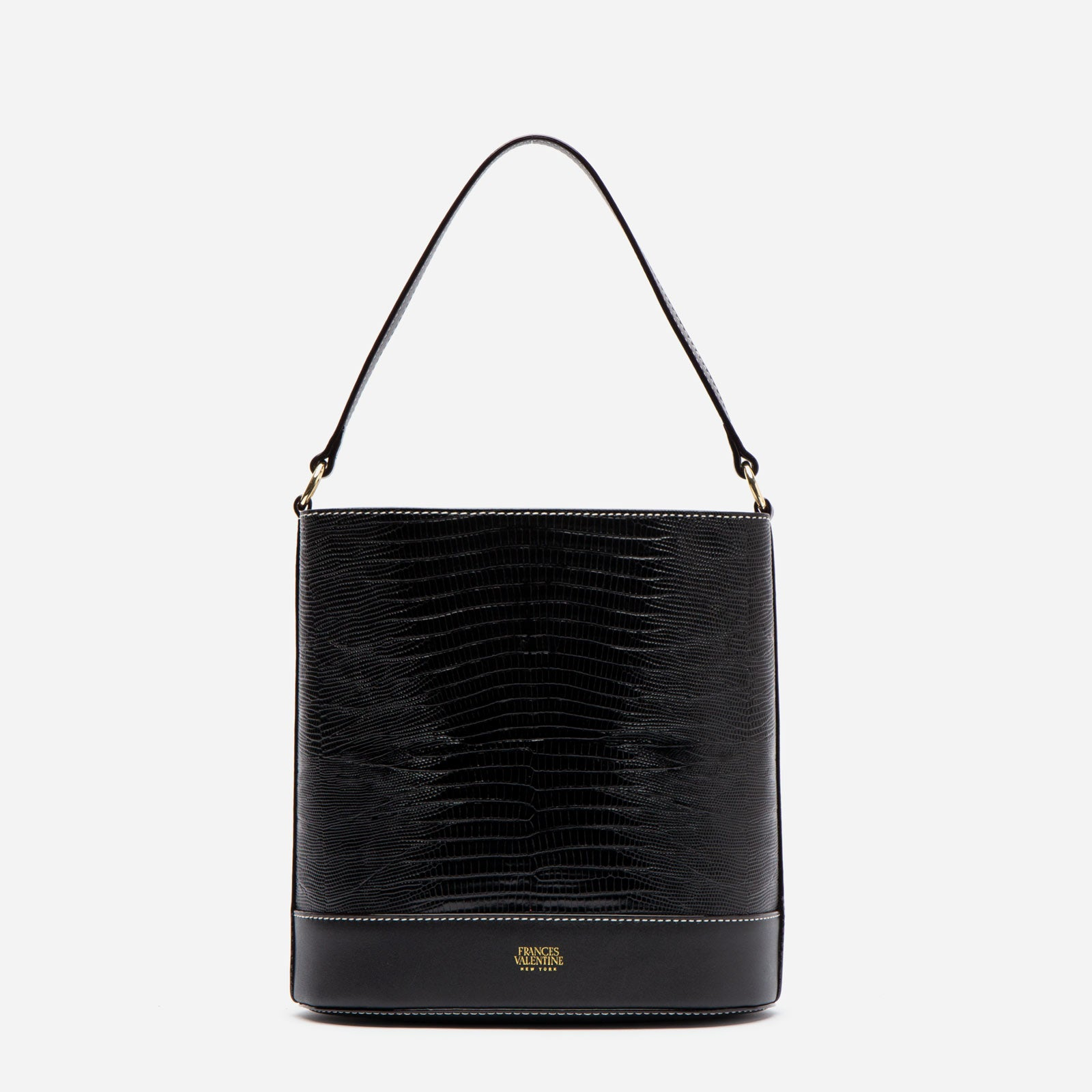 Stella Slim Bucket Lizard Embossed Leather Black