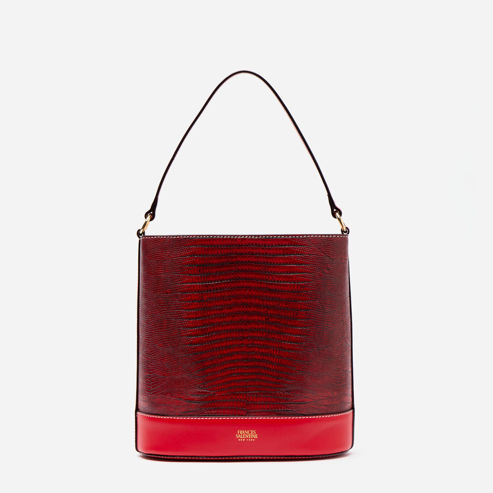 Stella Slim Bucket Lizard Embossed Leather Red - Frances Valentine