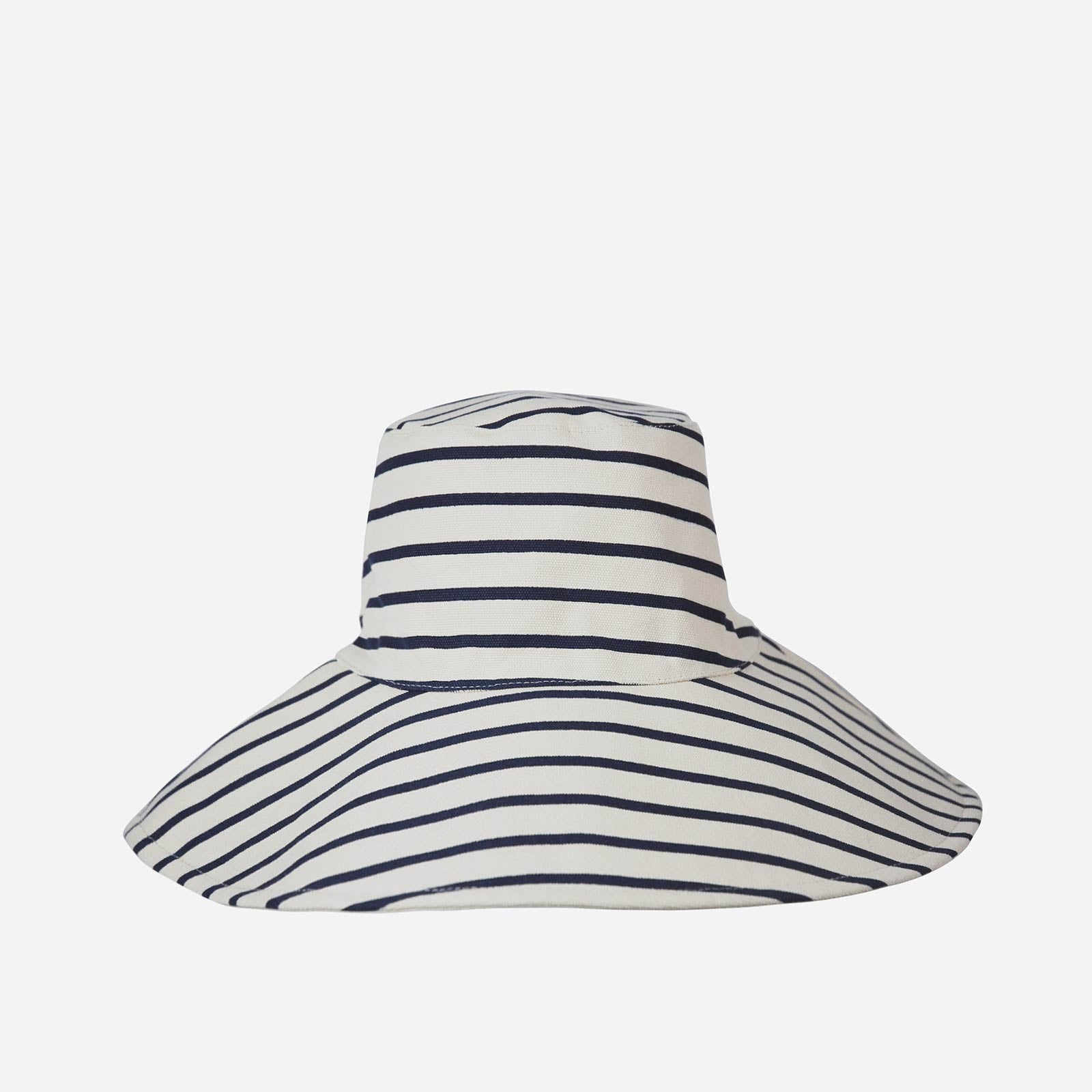Navy Stripe Reversible Canvas Sunhat