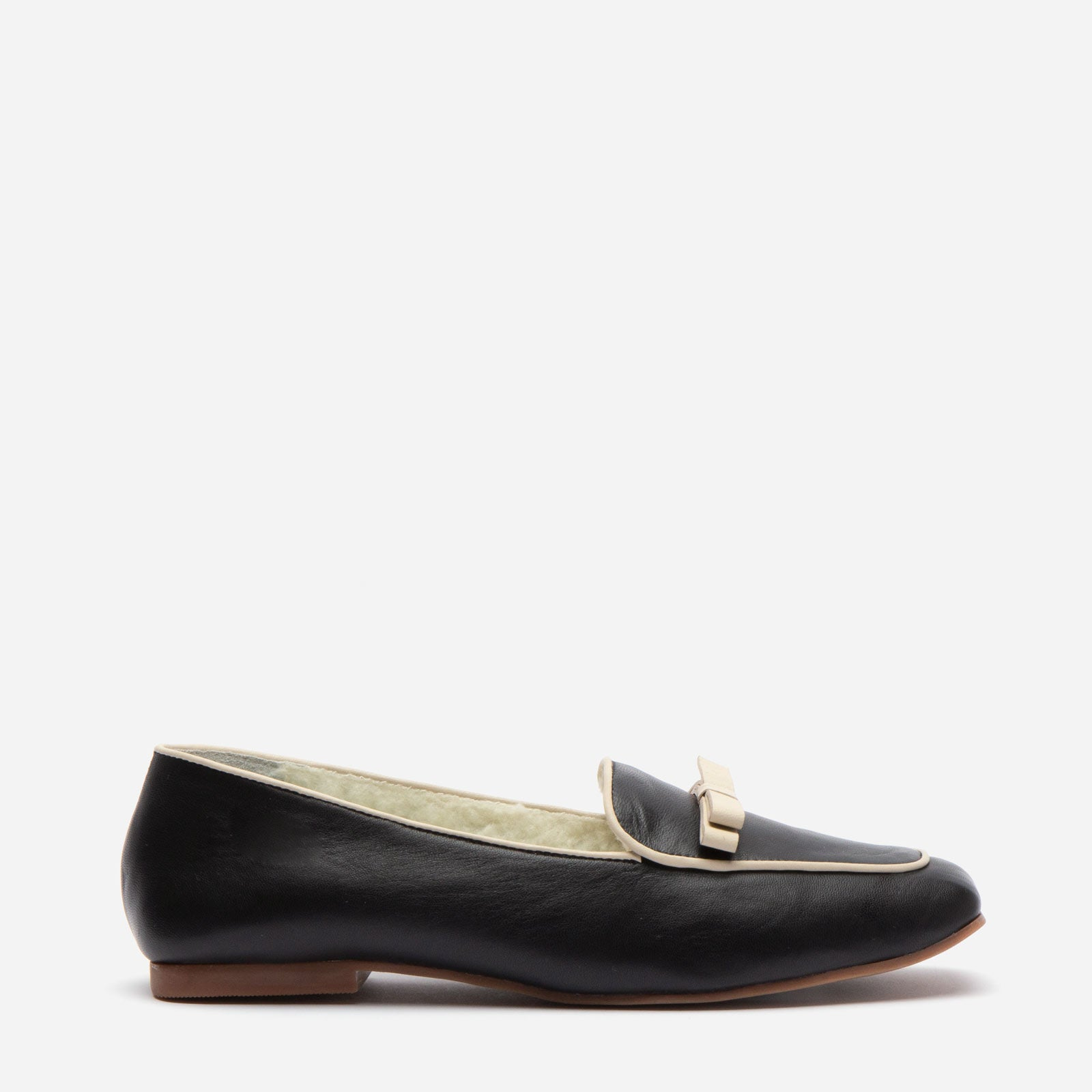 Suzanne Cozy Loafer Nappa Faux Shearling Black - Frances Valentine