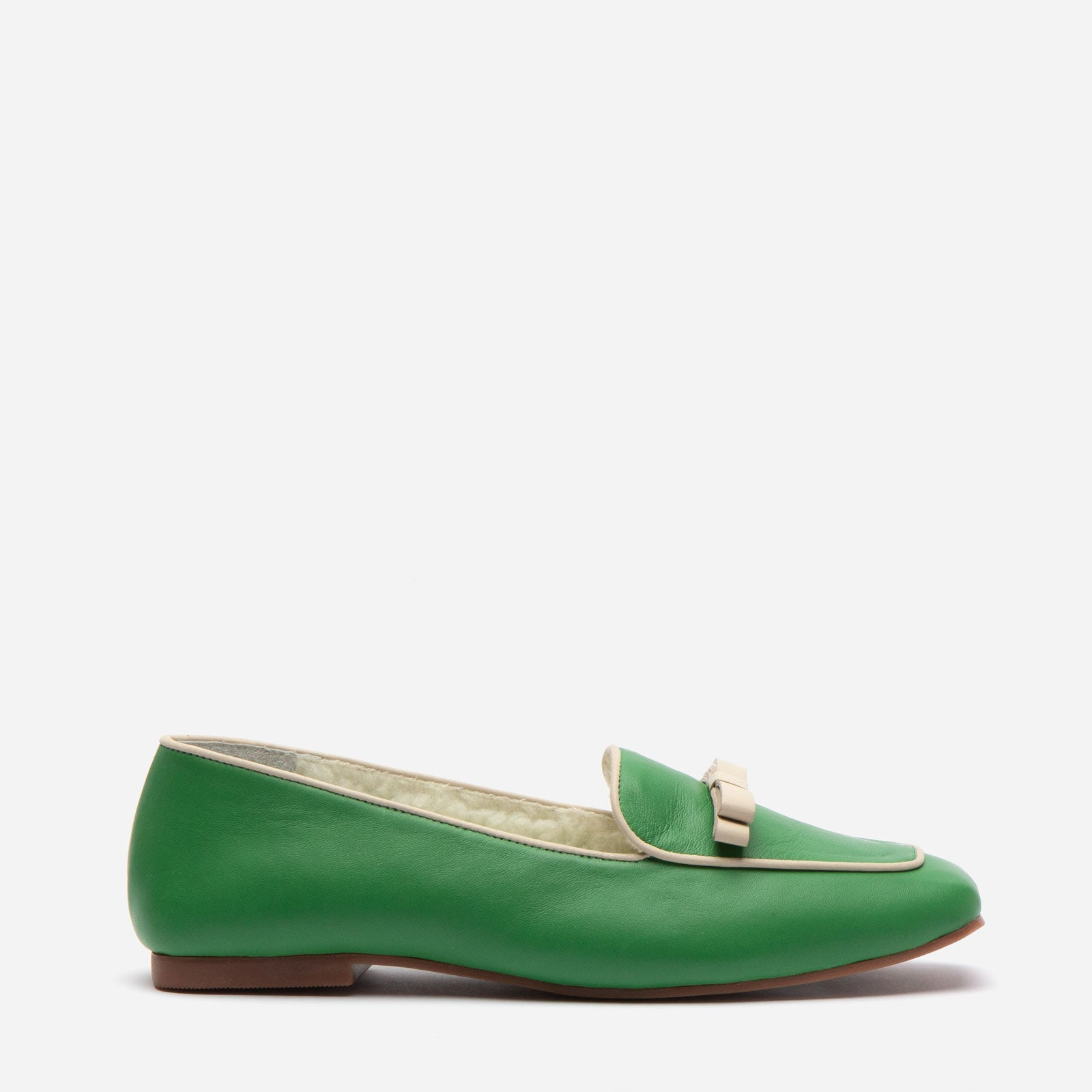 Suzanne Cozy Loafer Nappa Faux Shearling Green - Frances Valentine