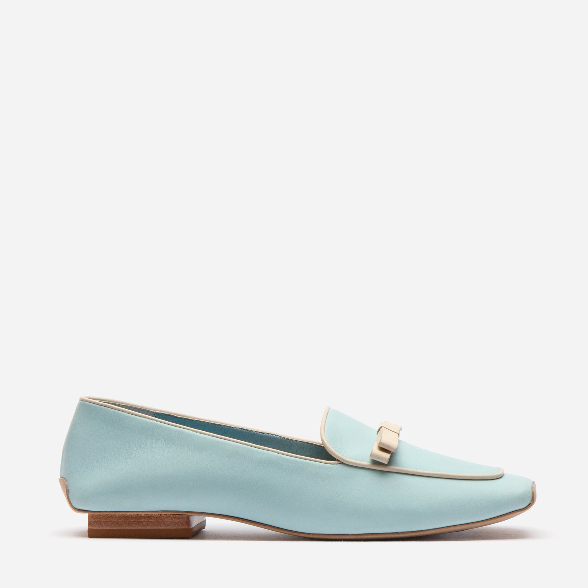 Suzanne Loafer Leather Light Blue Oyster - Frances Valentine