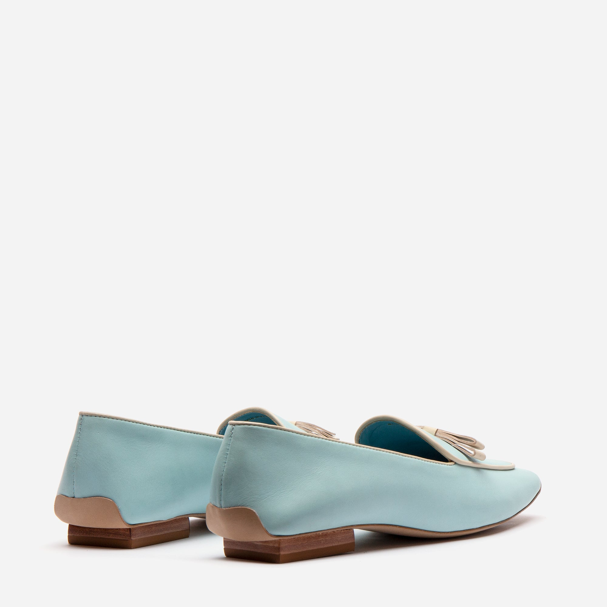 Suzanne Loafers Leather Light Blue Oyster