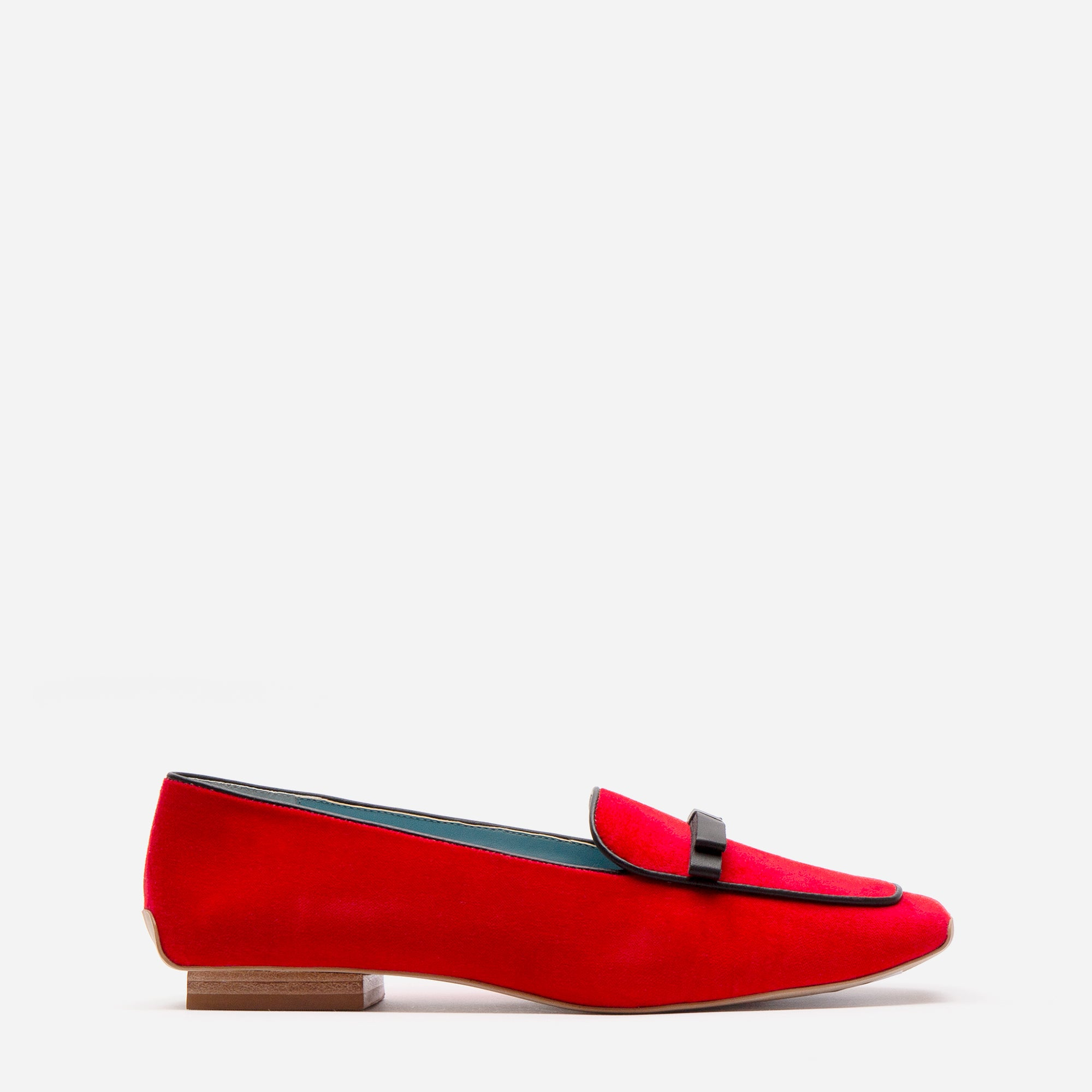 Suzanne Loafers Velvet Red Black