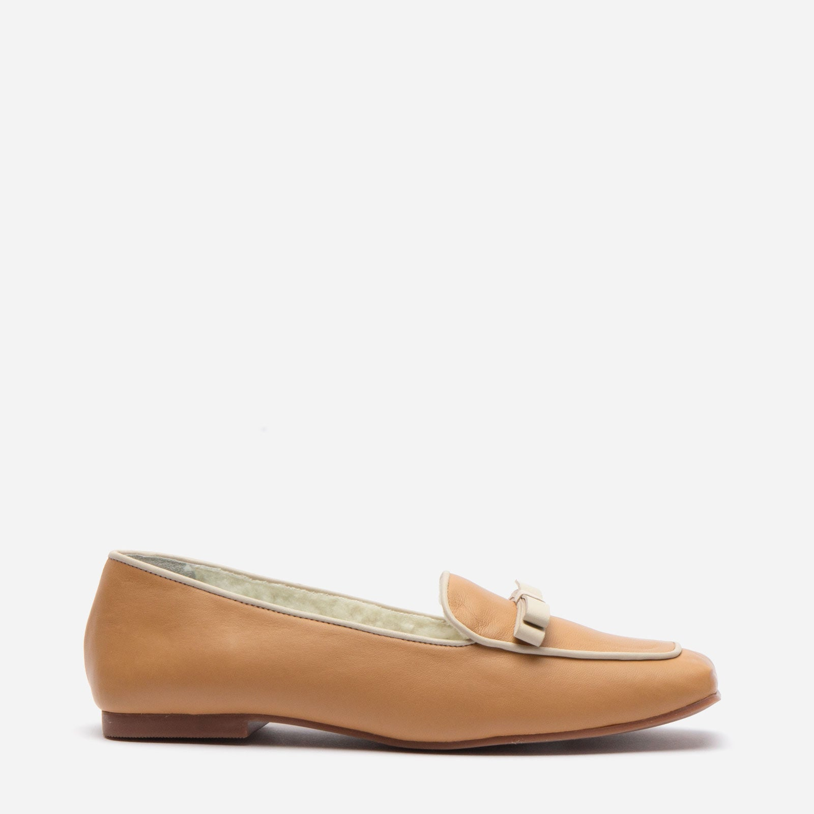 Suzanne Cozy Loafer Nappa Faux Shearling Camel - Frances Valentine