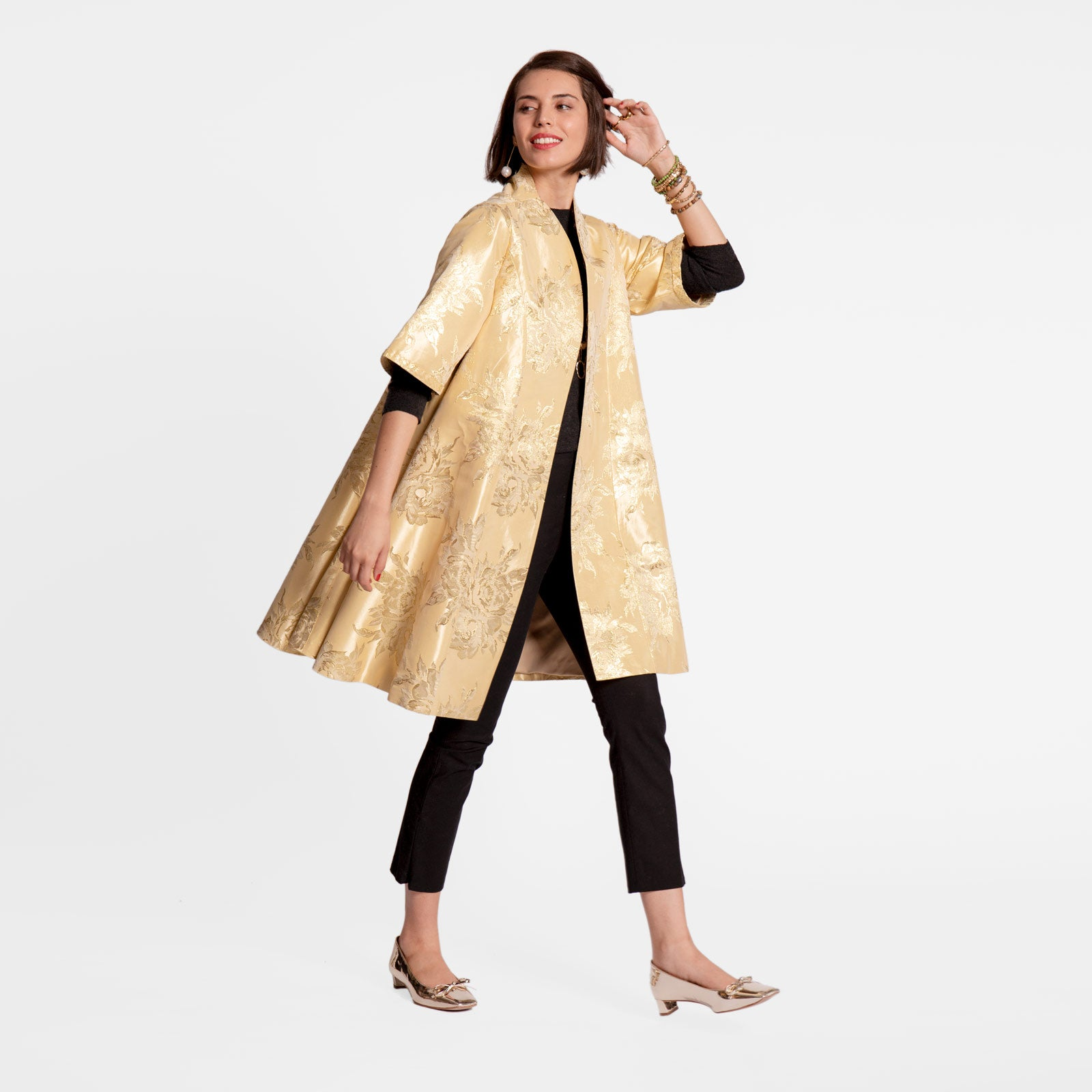 Metallic Jacquard Swing Coat Platino