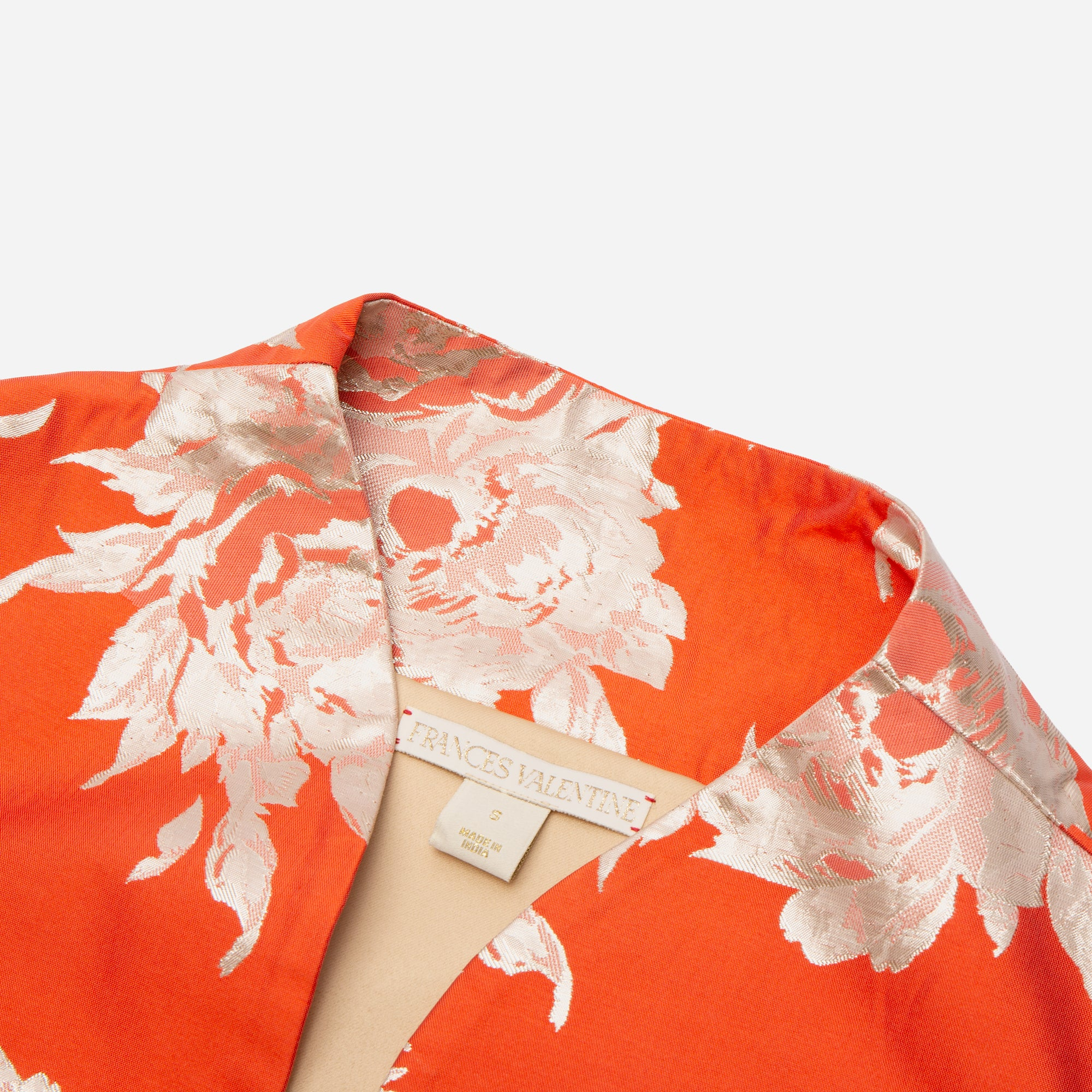 Metallic Jacquard Swing Coat Orange