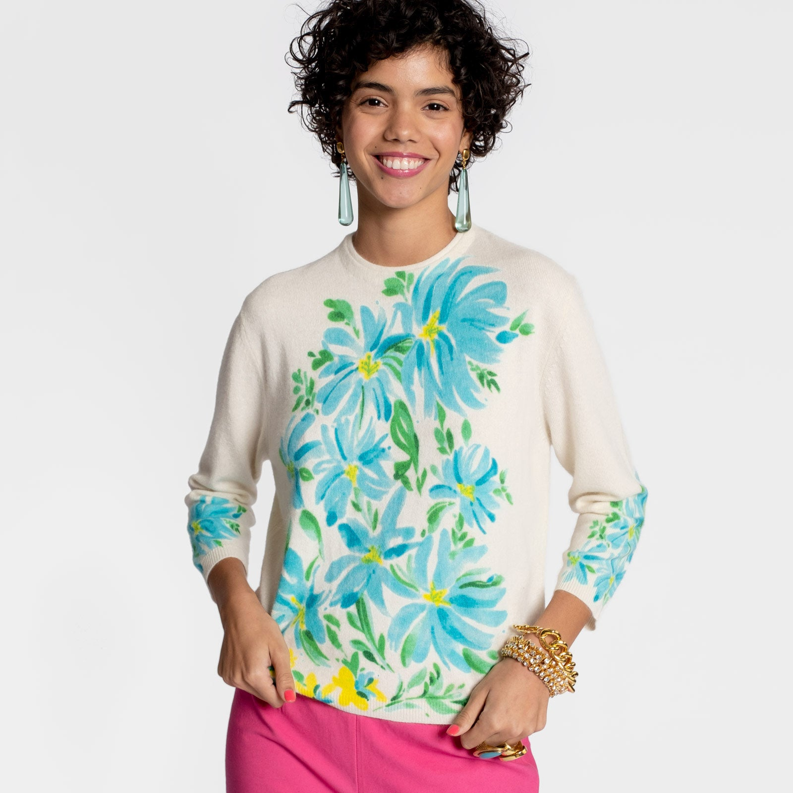 Sweetie Sweater Floral Blue - Frances Valentine