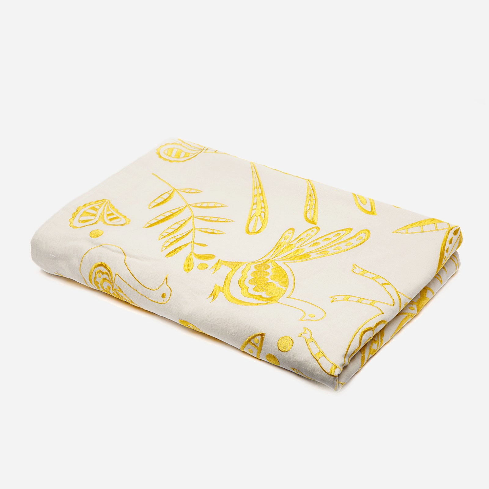 Veracruz Embroidered Tablecloth Yellow