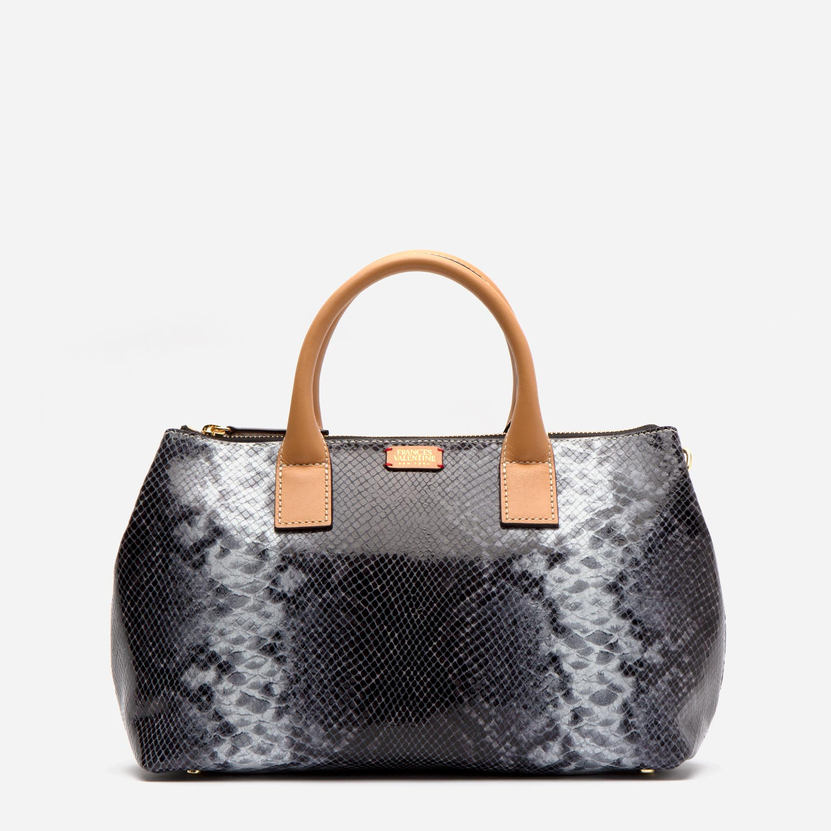 Tilly Tote Stripe Snake Leather Roccia - Frances Valentine