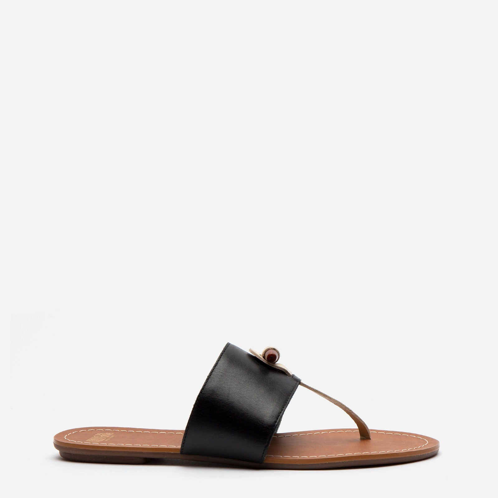 Toggle Leather Sandal Black