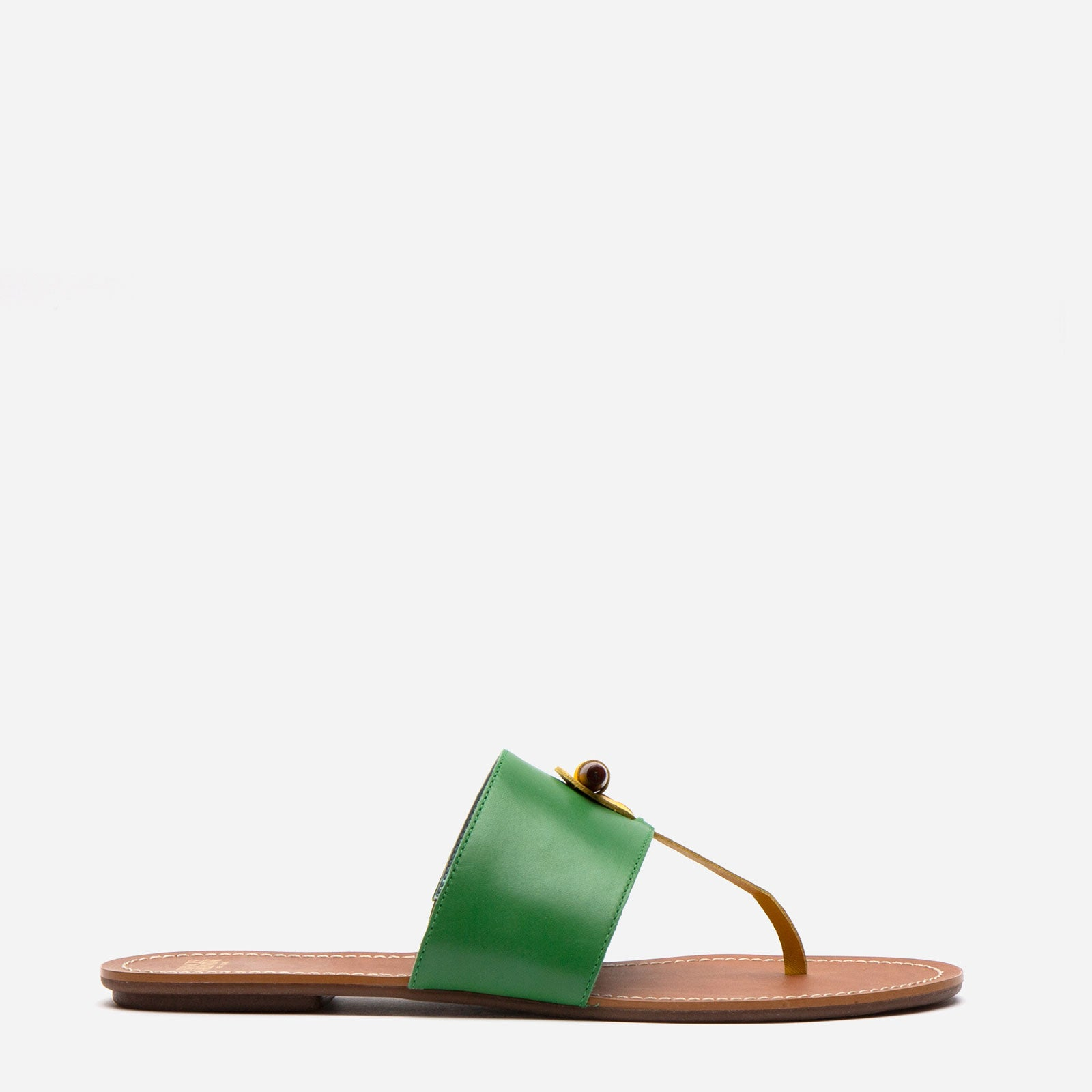 Toggle Leather Sandal Green