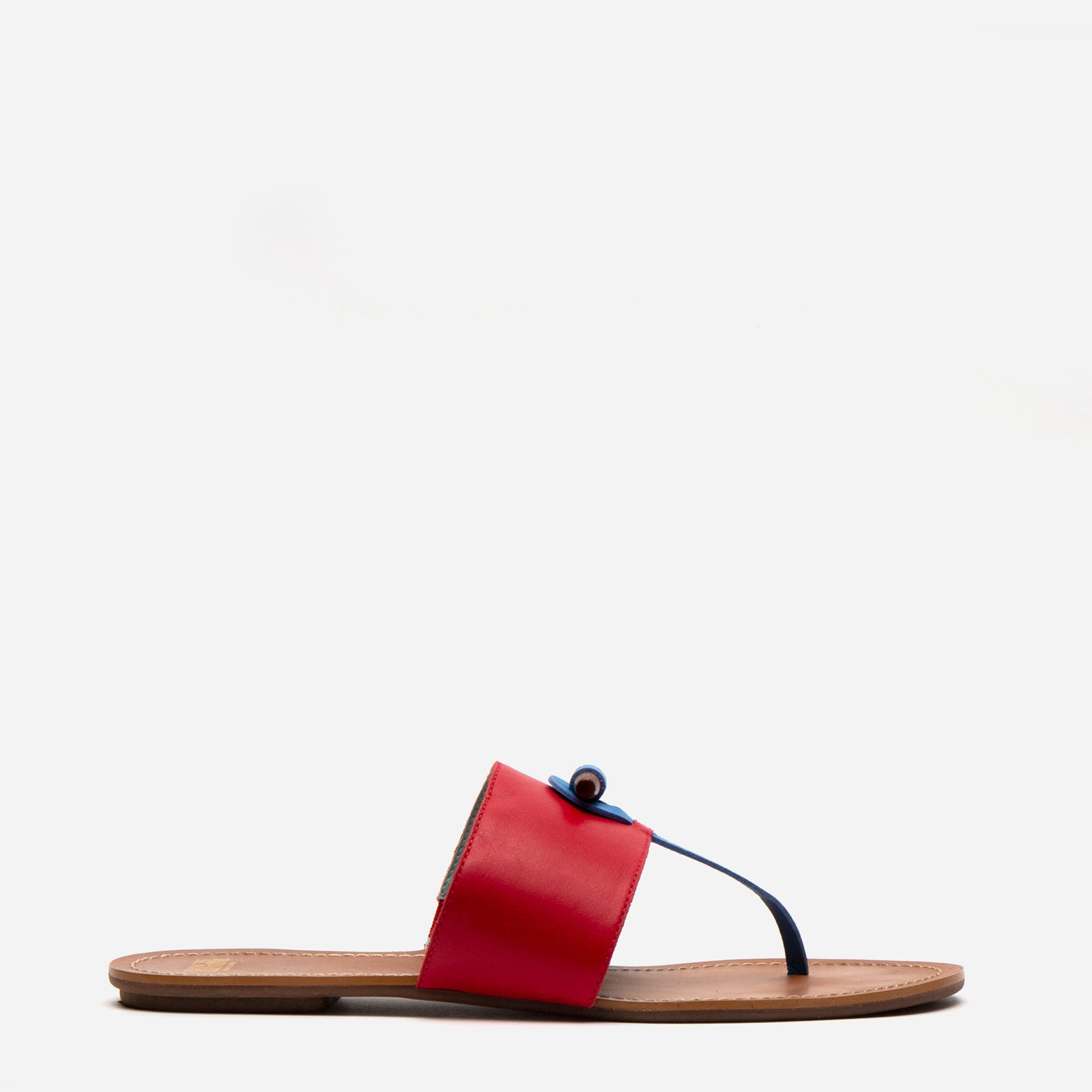 Toggle Leather Sandal Red - Frances Valentine