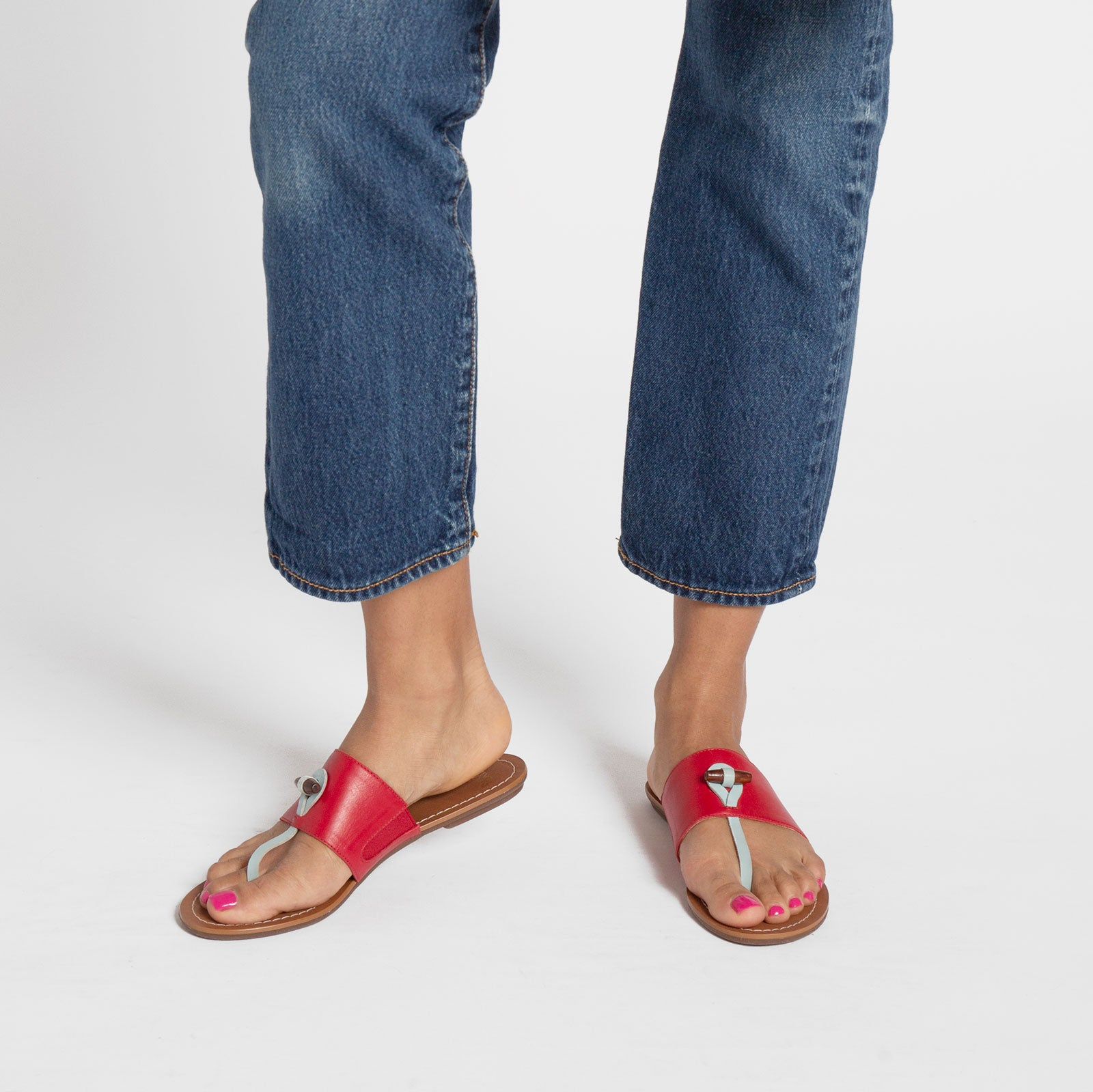 Toggle Leather Sandal Red