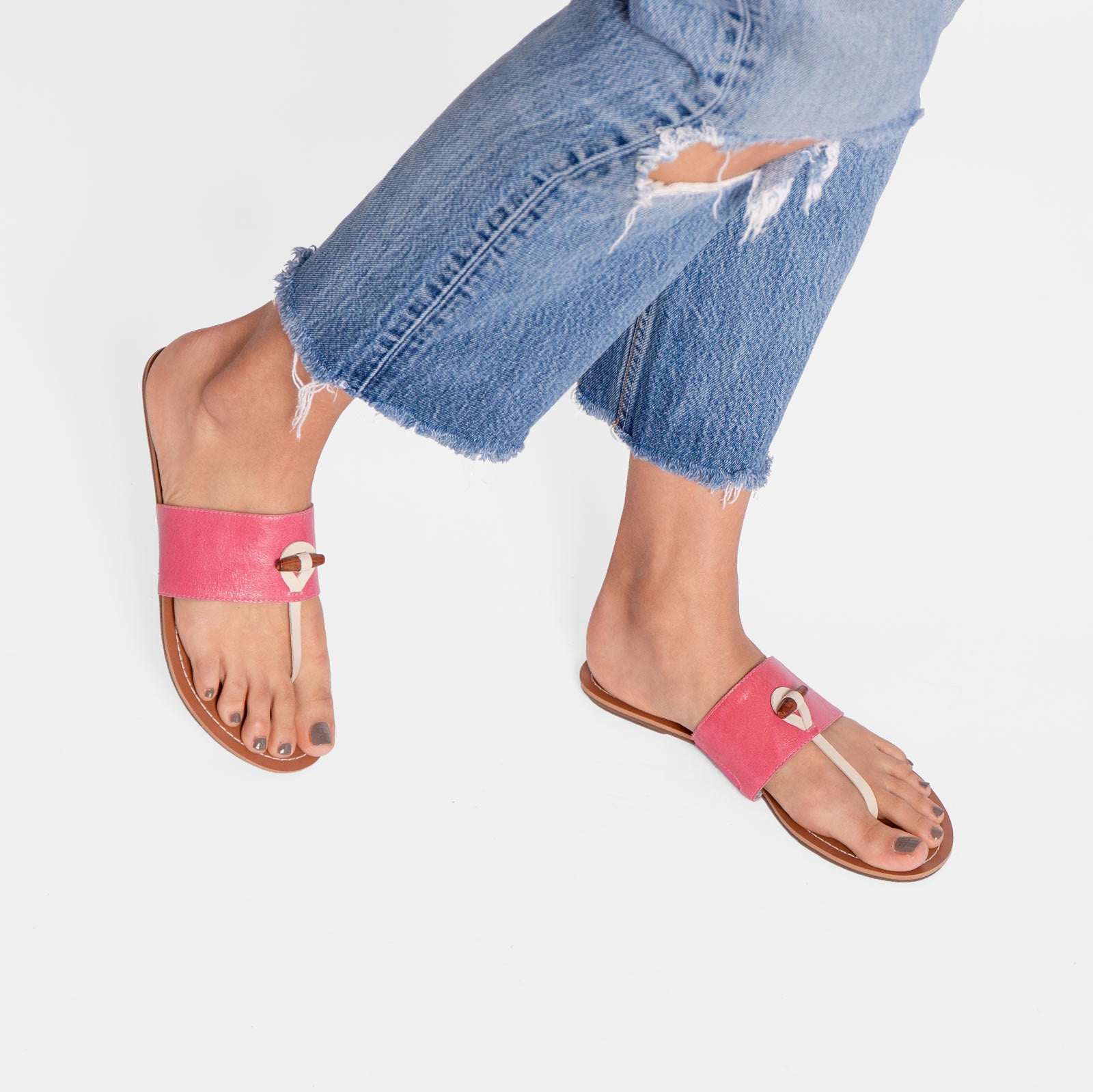 Toggle Slide Naplak Leather Pink Oyster