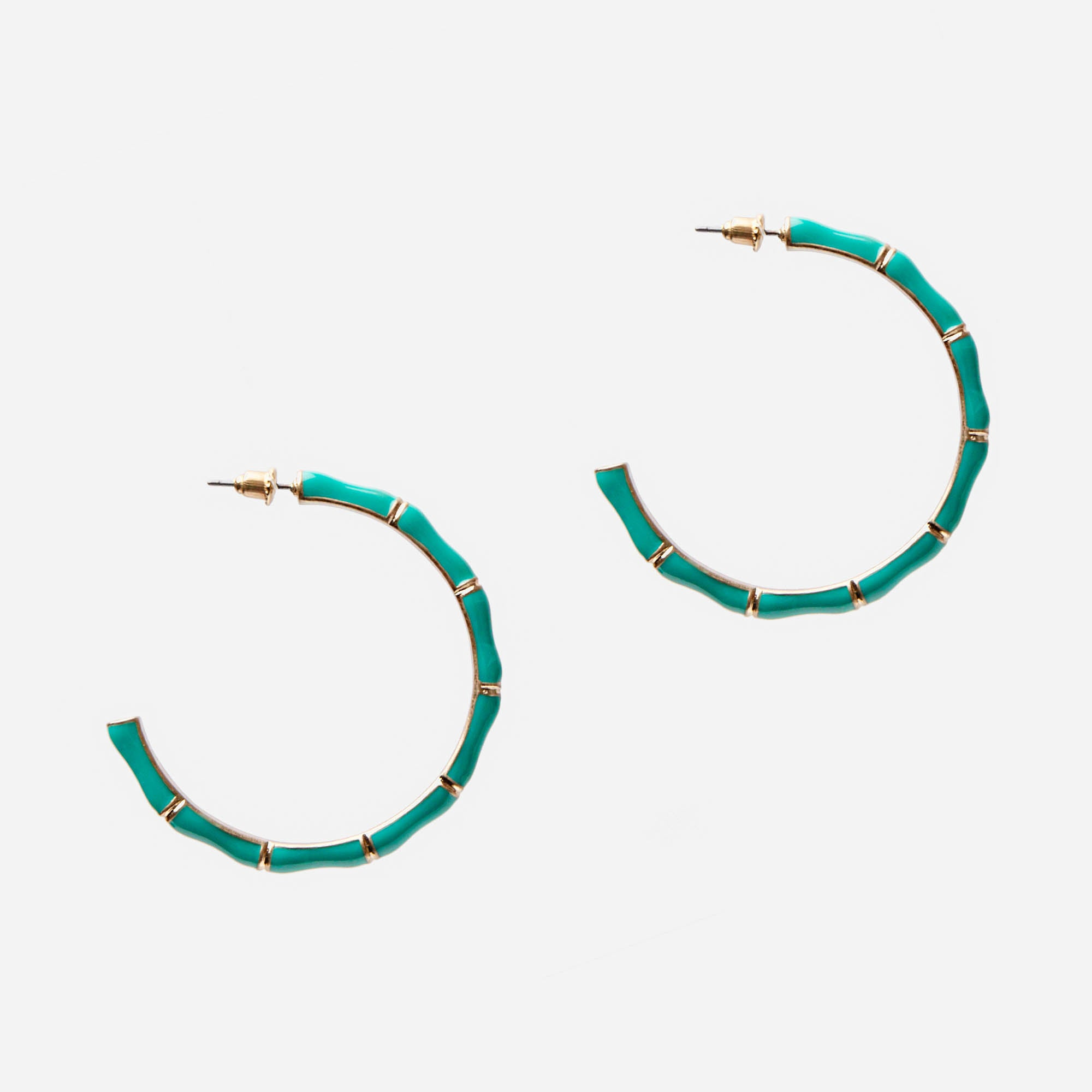 Turquoise  Bamboo Hoop Earrings