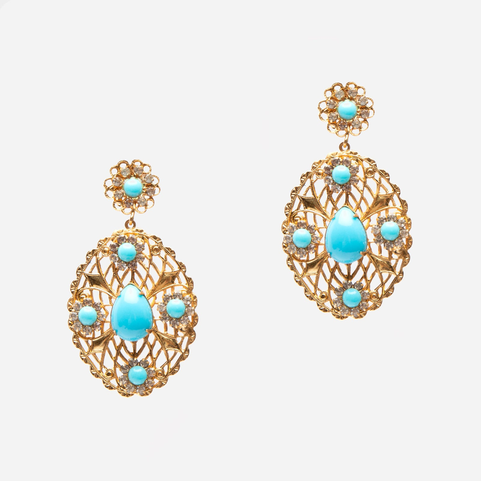 Turquoise Cabochon Filigree Earrings - Frances Valentine